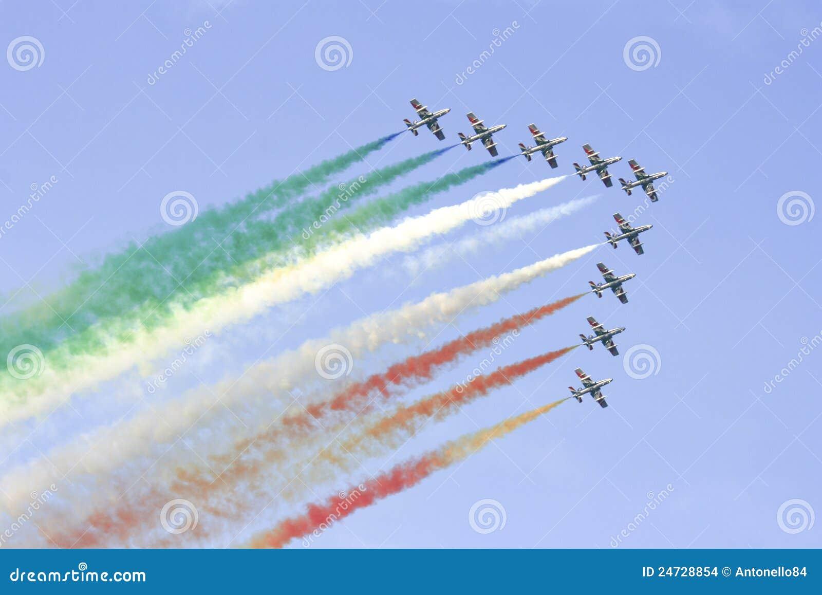 Team van het Eskader van Tricolori van Frecce het Italiaanse