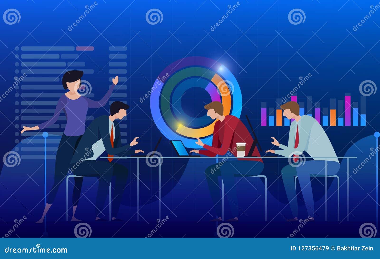 Team van specialisten die aan digitale marketing strategie, digitale analyse, winstconcept werken Blauwe violette achtergrond