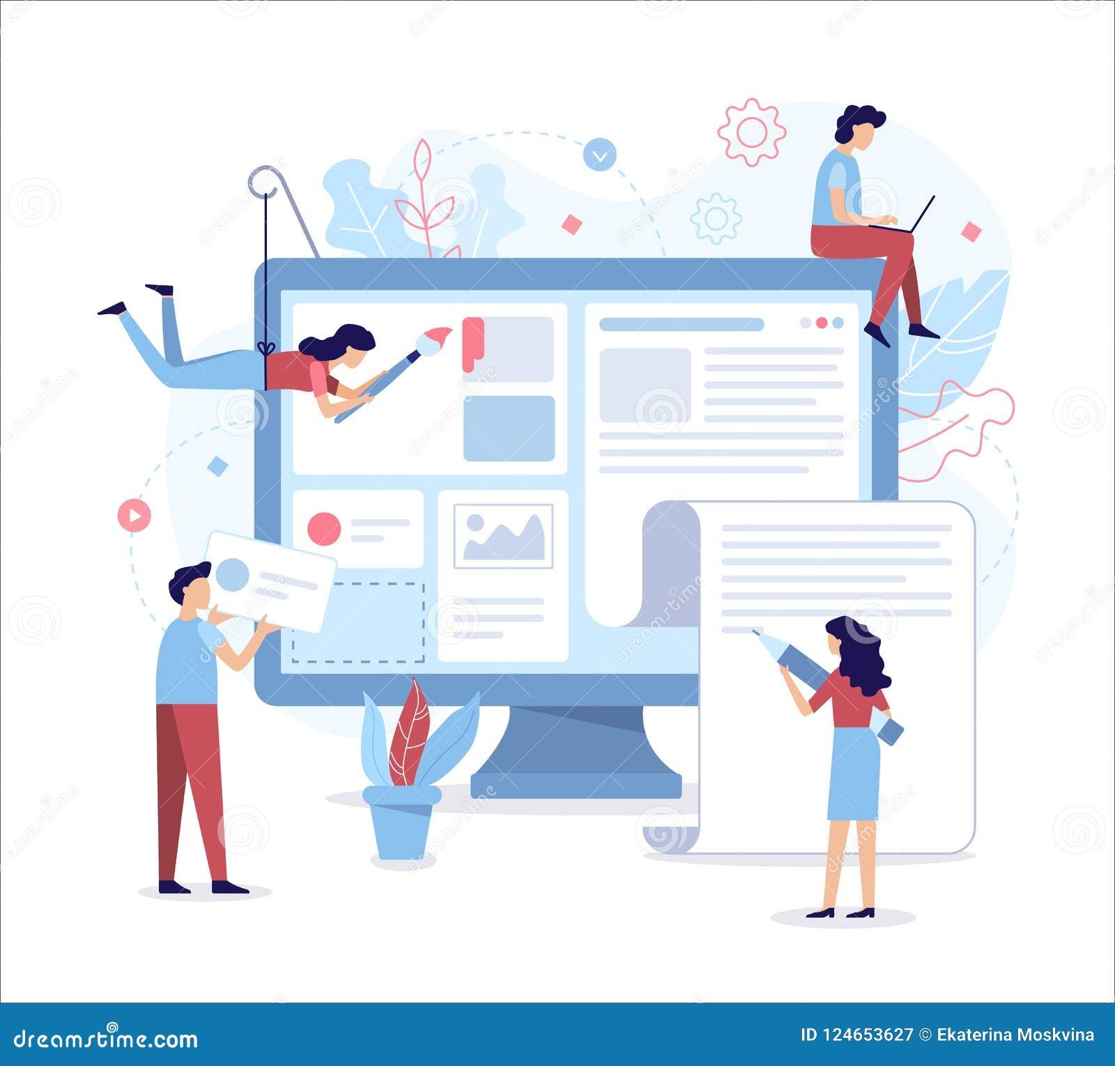 Web Development Flat Illustration Stock Vector Illustration Of Create News 124653627