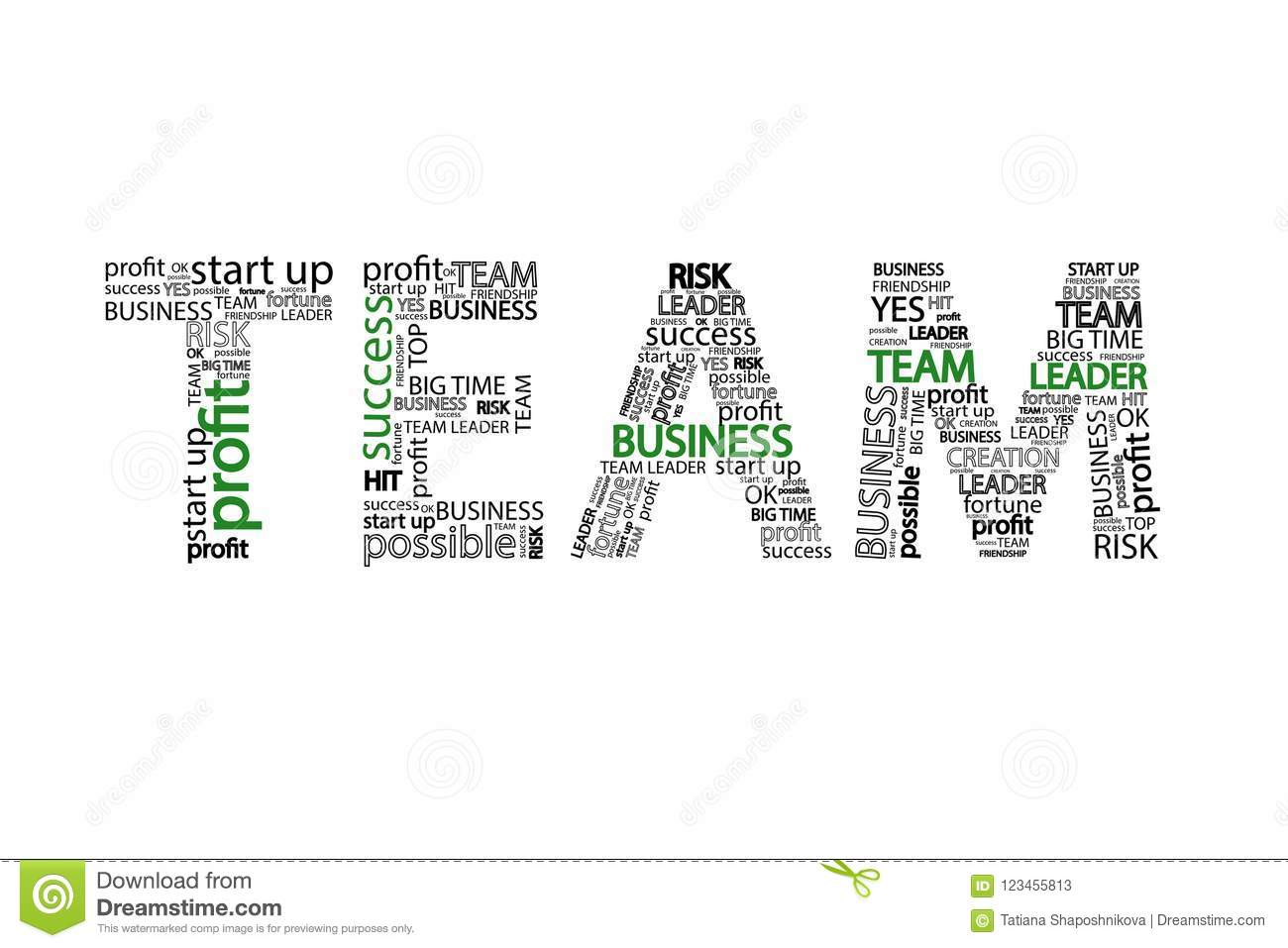 Team Word clouid business concept, isolated on white background