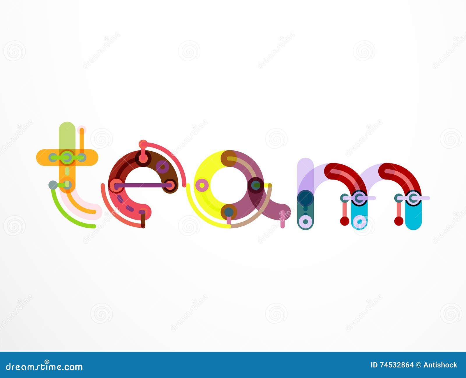 team word lettering banner stock vector illustration of background