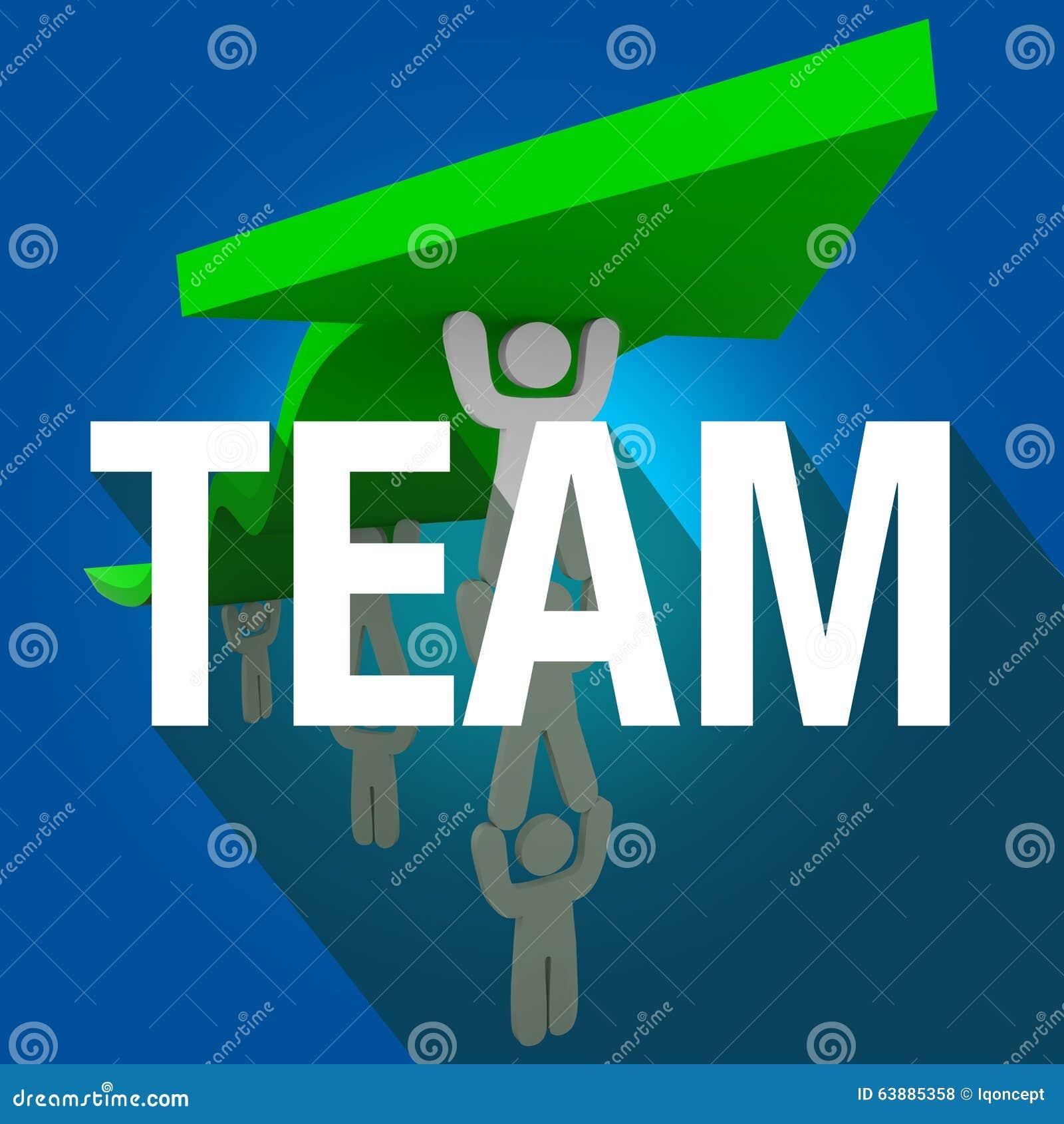 Team Word Long Shadow People che lavora insieme la freccia dell ascensore