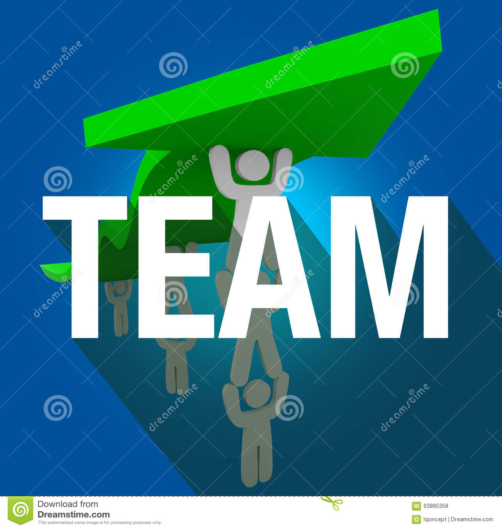 Team Word Long Shadow People travaillant ensemble la flèche d ascenseur