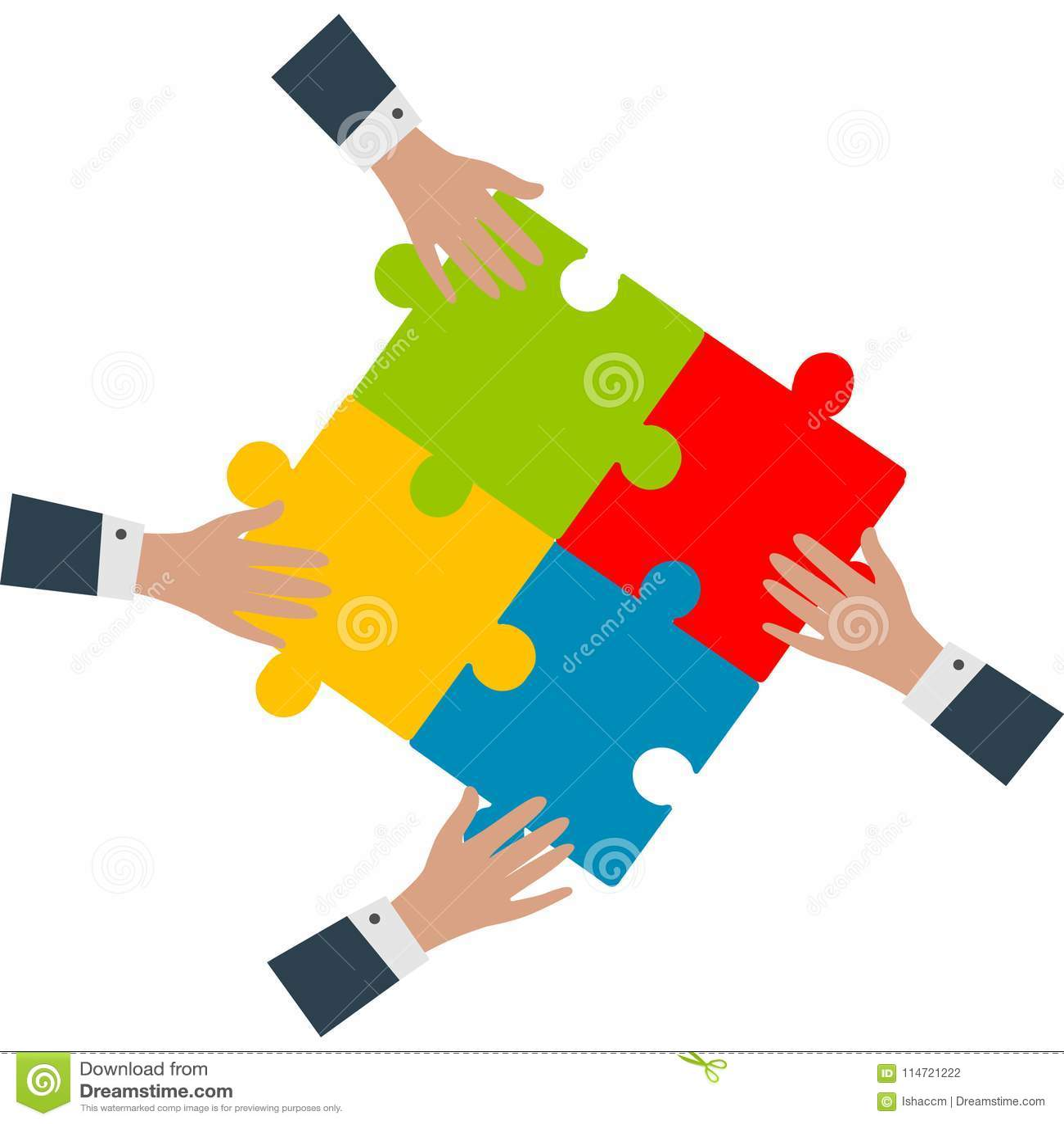 Team work concept.Hands assembling puzzles vector