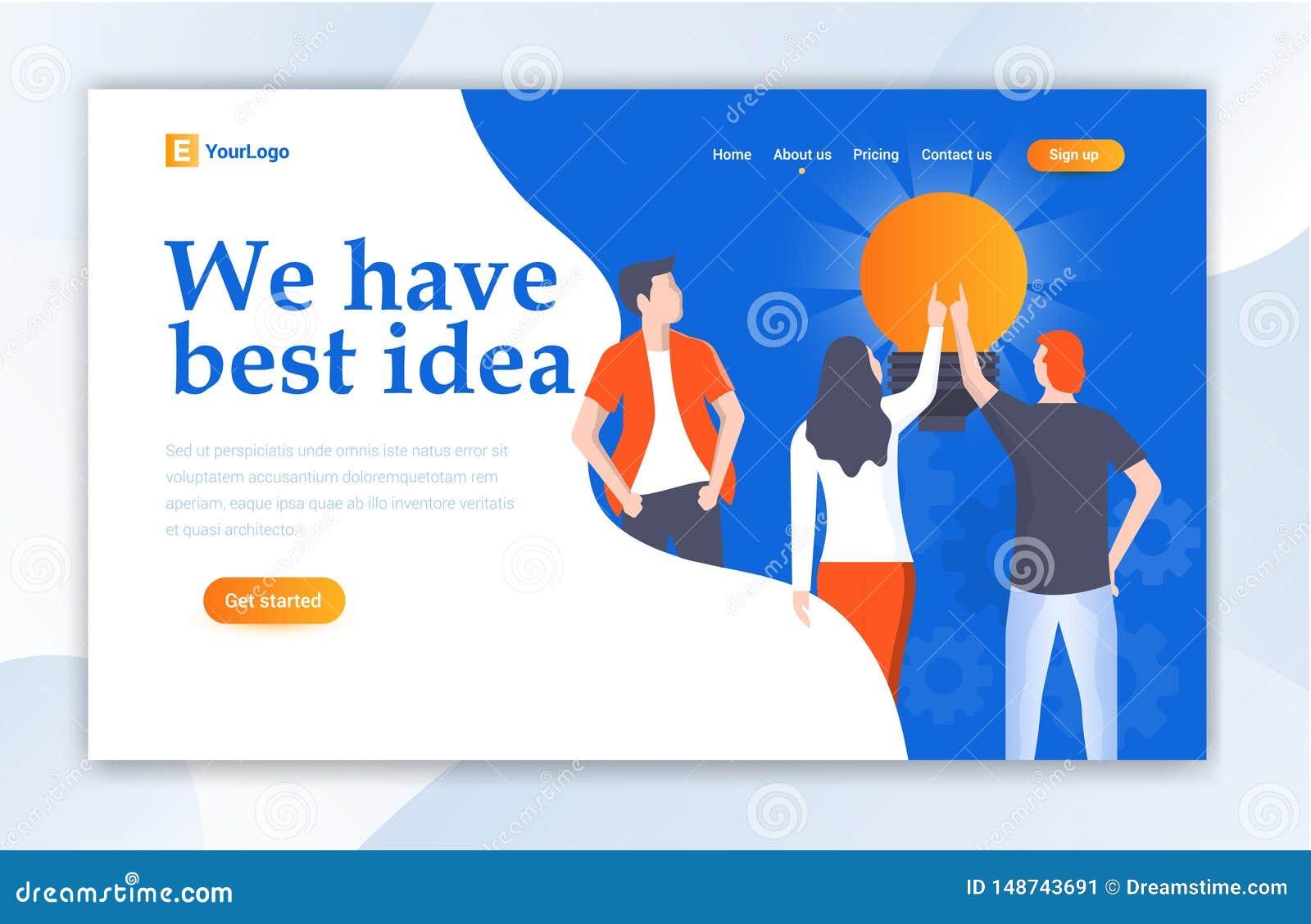 Team Work For Idea Ui-het Landingspaginamalplaatje van het Webontwerp voor