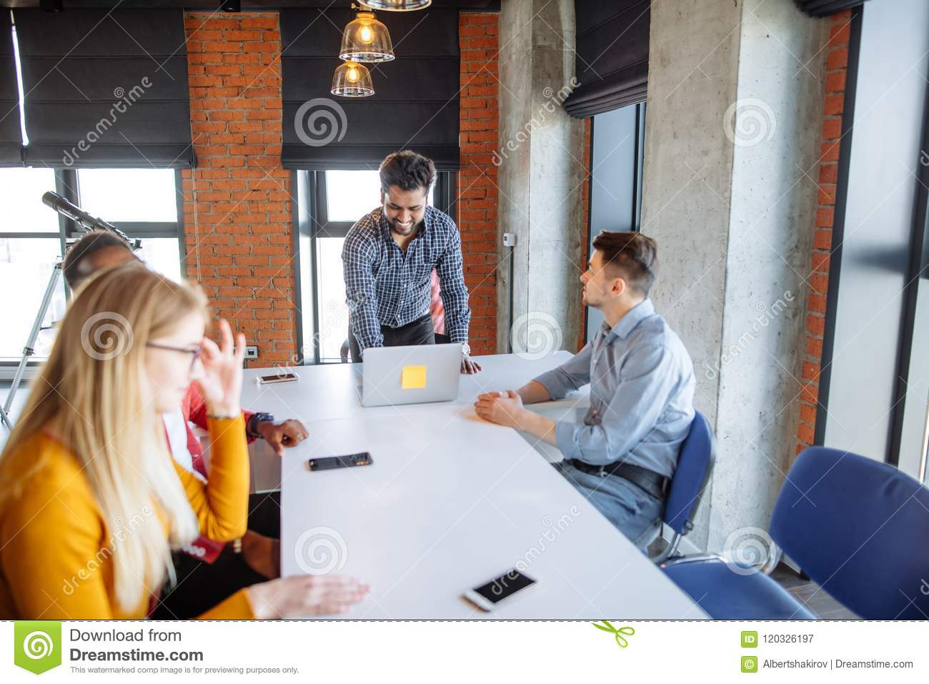 Team work at interantional corporation modern office stock image