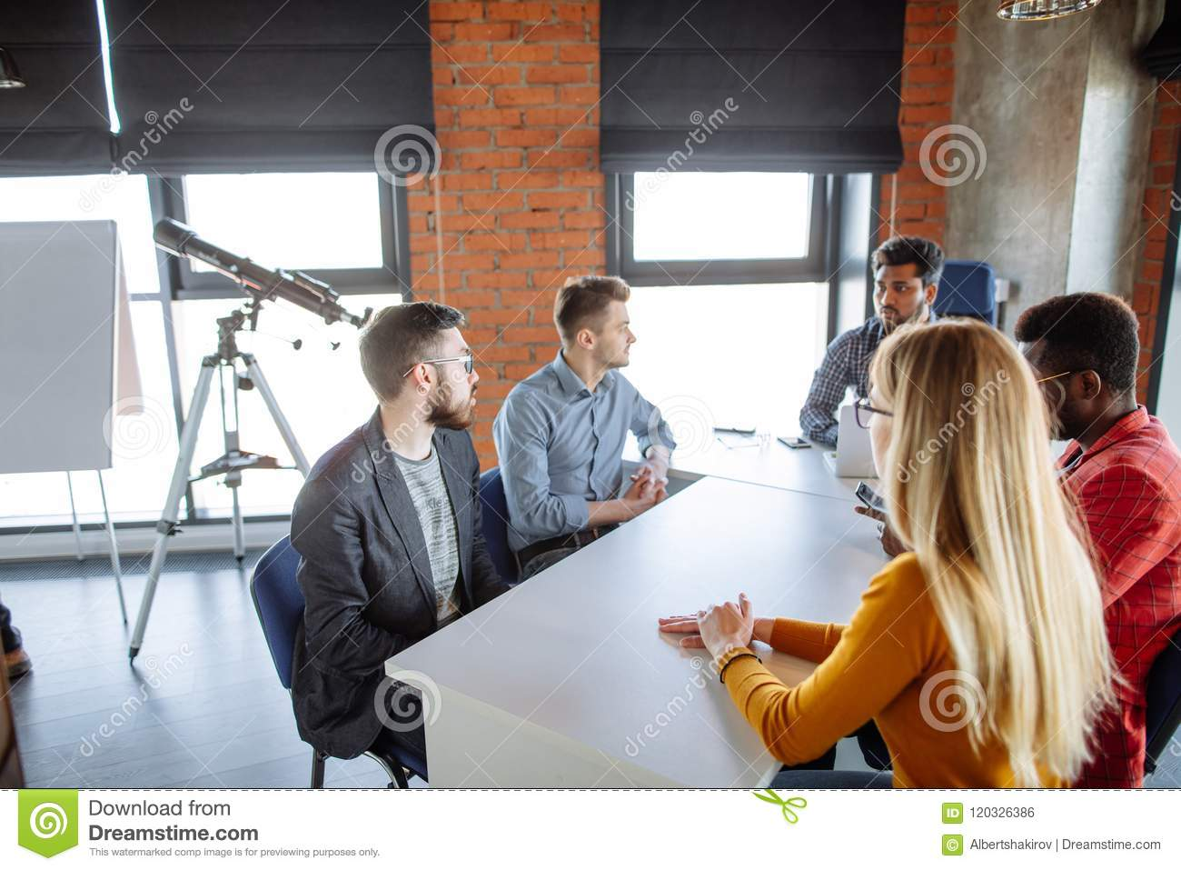 Team work at interantional corporation modern office stock photo