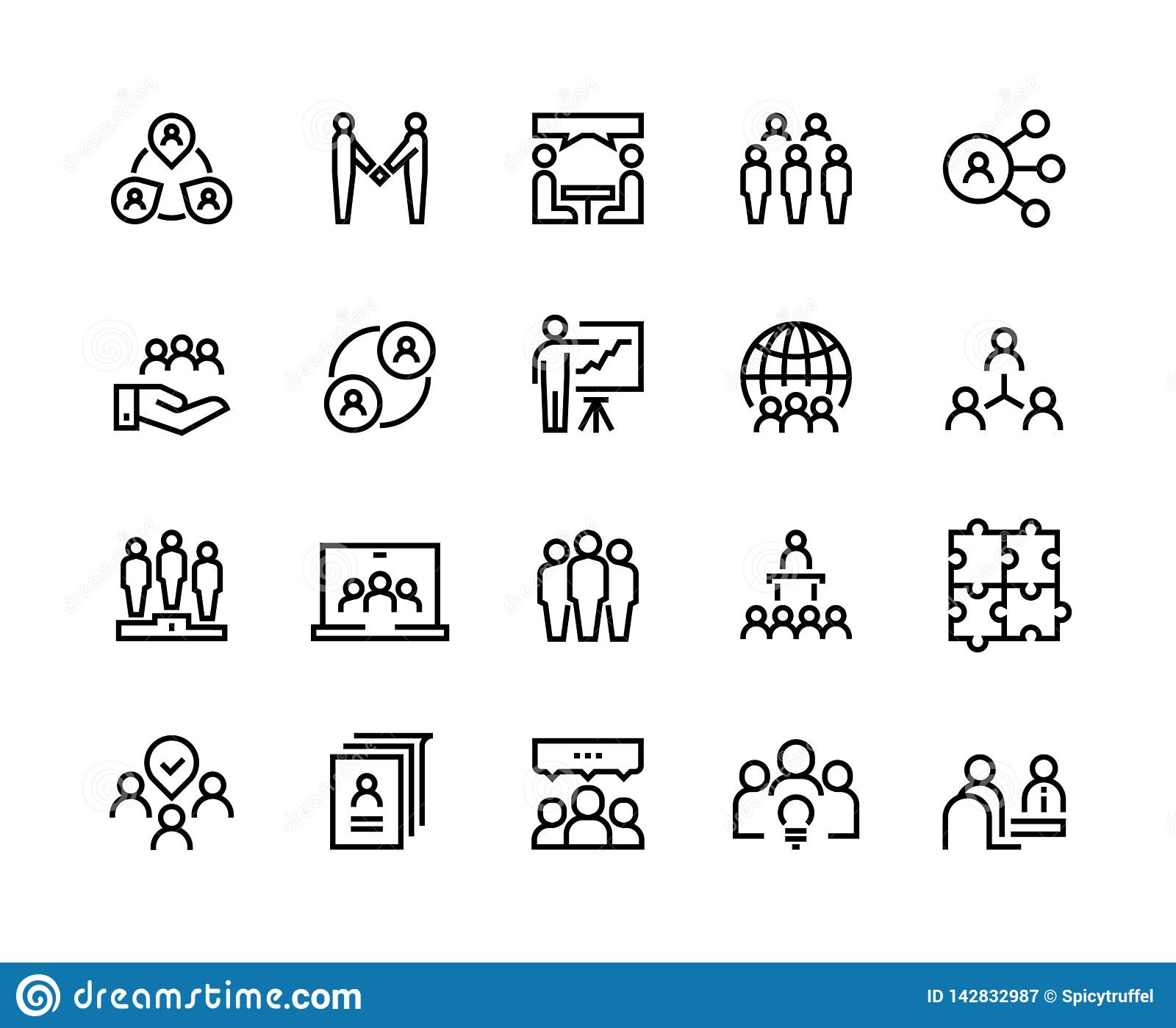 Team work line icons. Business person group work human support teamwork leadership working together. Vector employee