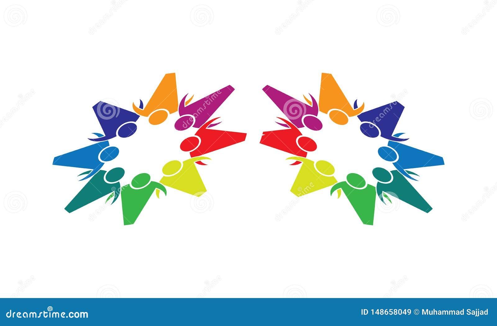 Team Work Logo - affare circolare arrotondato Team United Logo della mascherina di Team Work Union People Logo