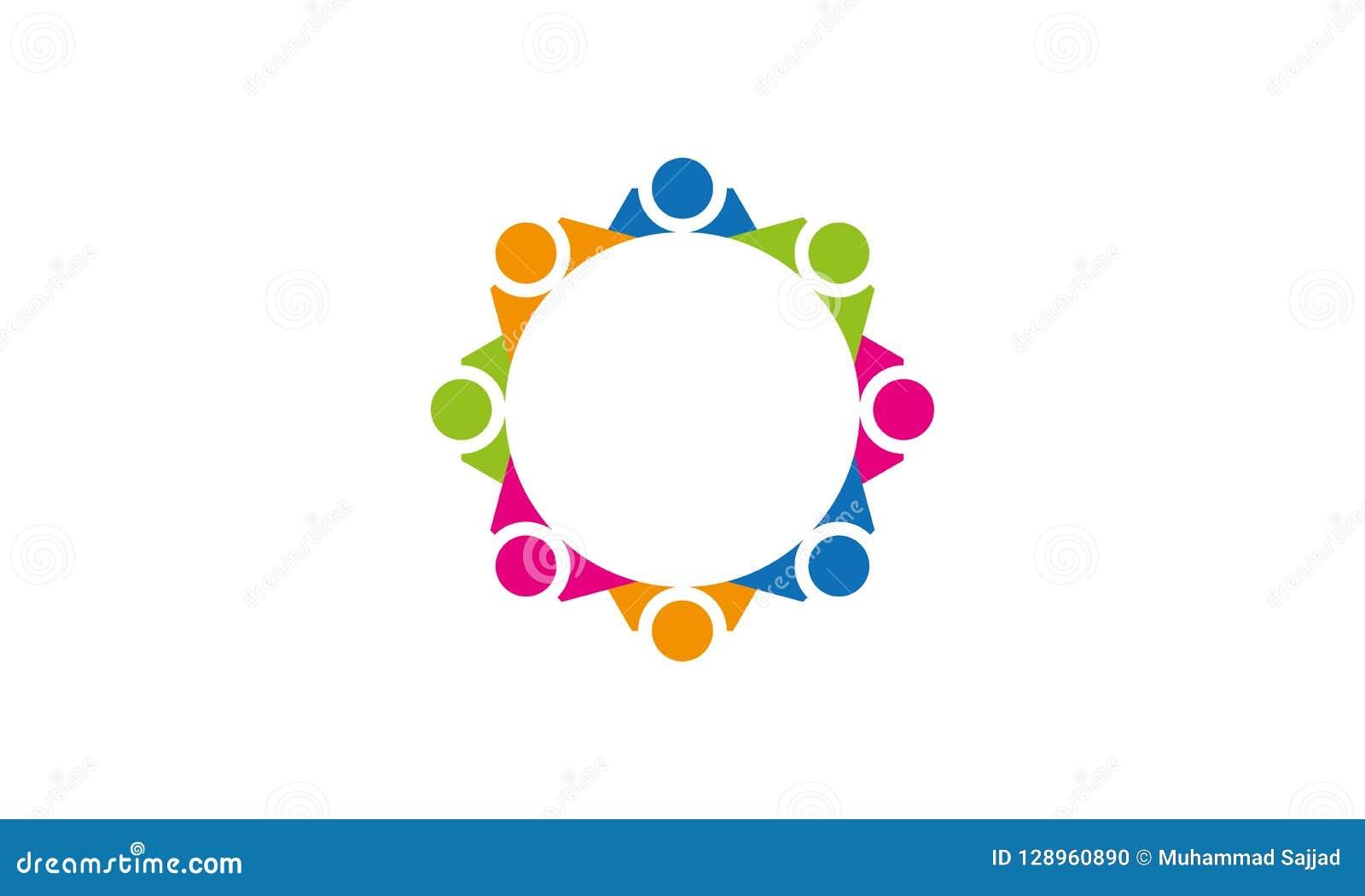 Team Work Logo - negocio circular redondeado Team United Logo de la plantilla de Team Work Union People Logo