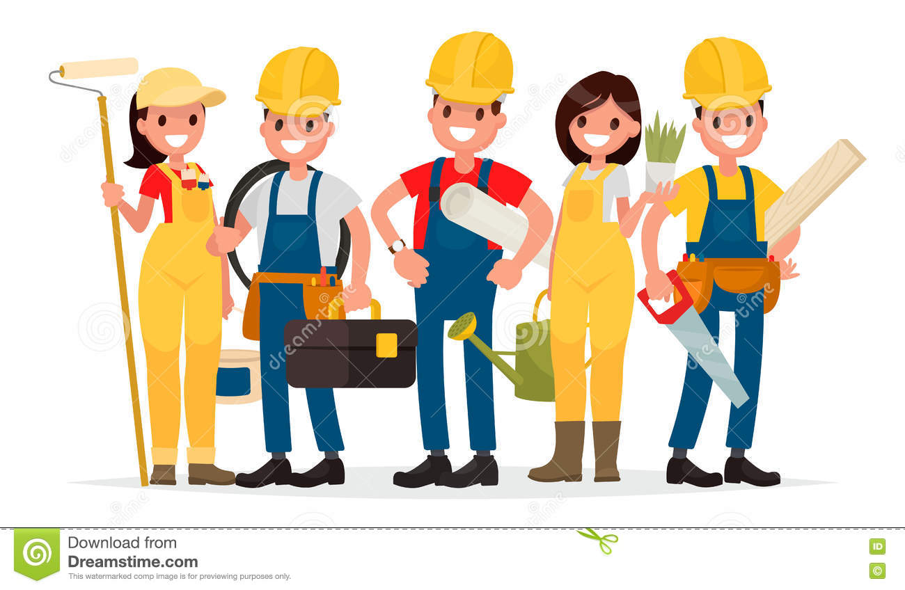 Beautiful Team Workers Building House Foreman Painter Electric Electrician Landscaper Carpenter Vector Illustration Flat Style 81822809