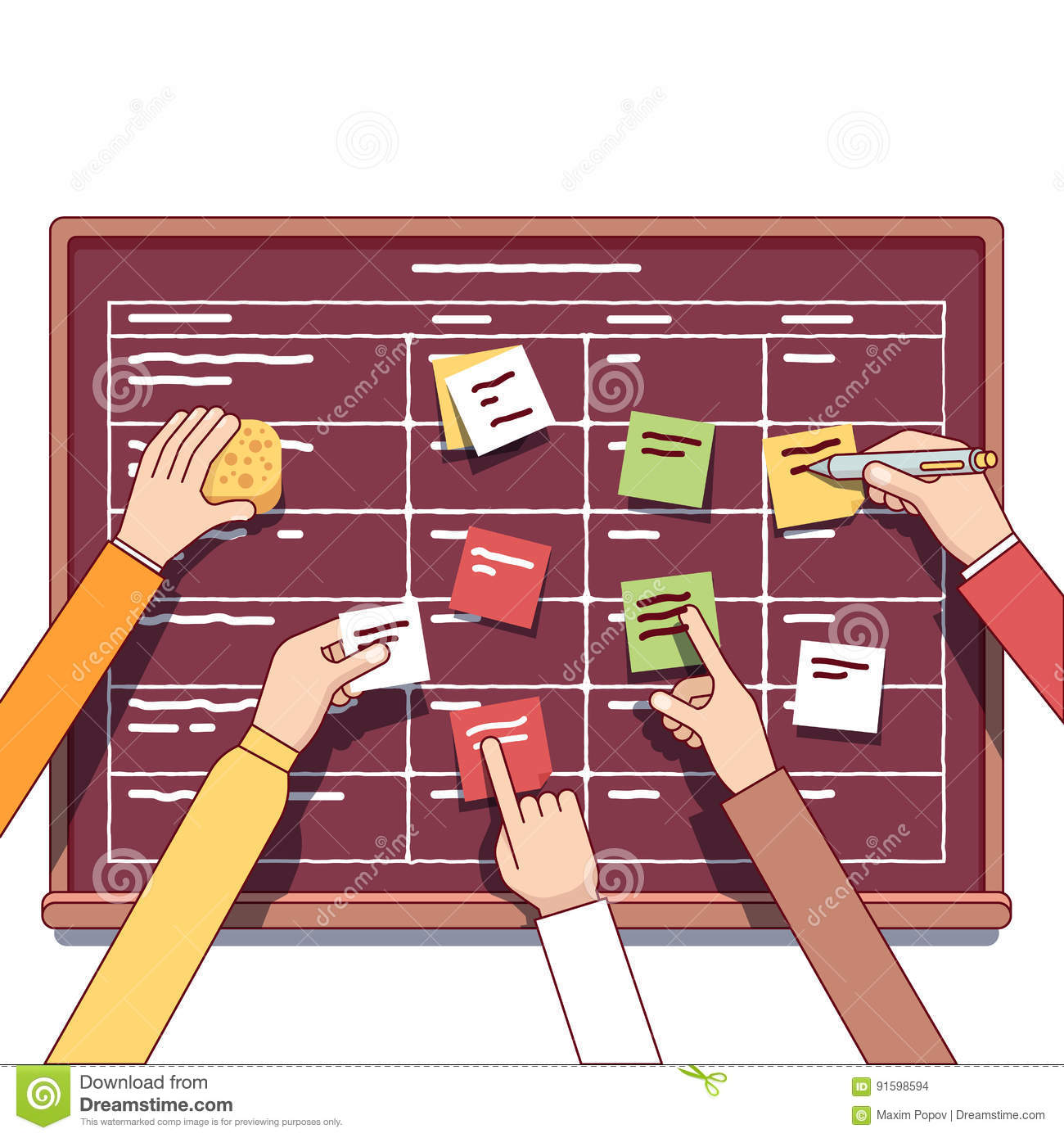 Team Working Together On A IT Startup Business Stock Vector
