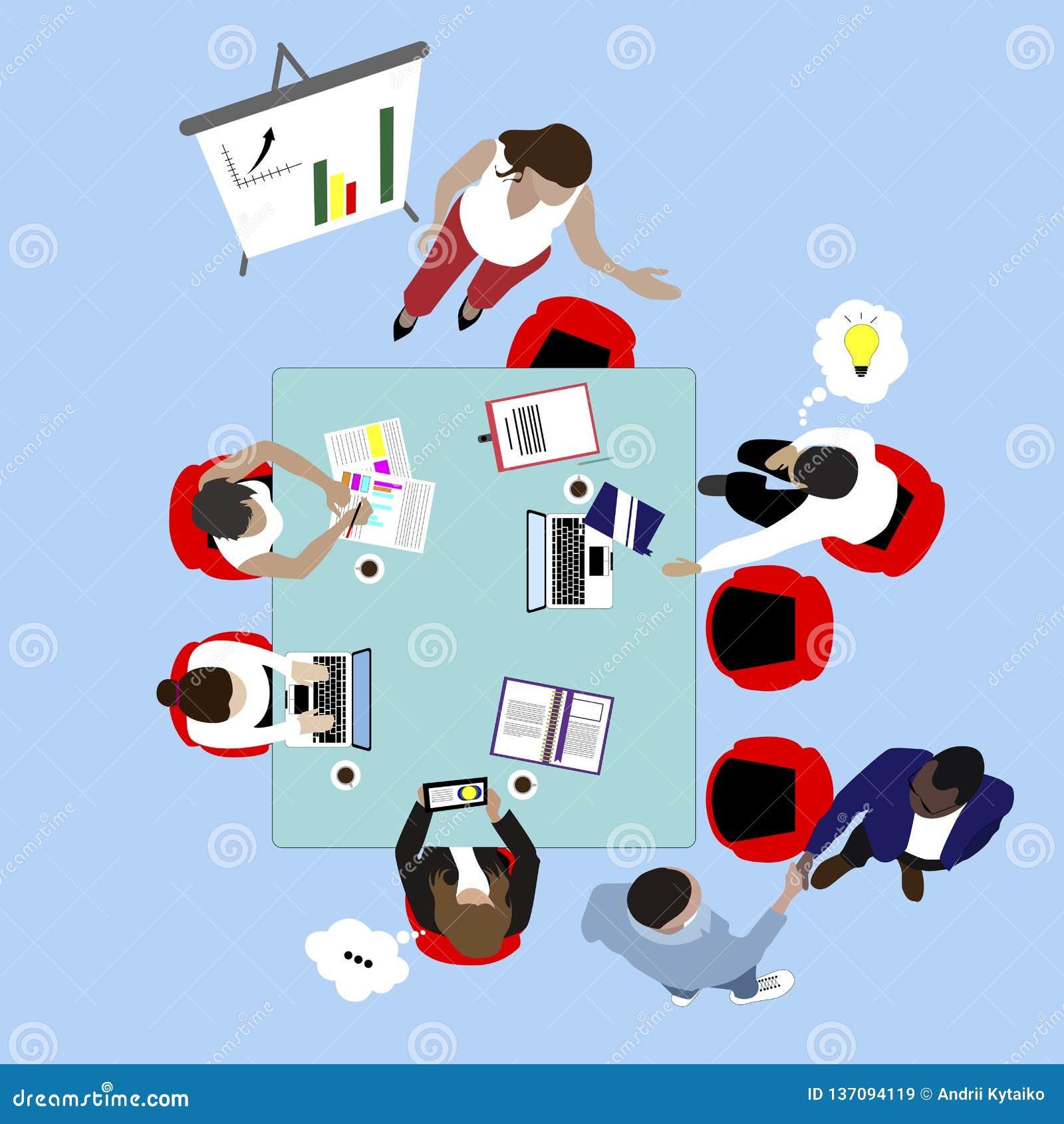 Teamarbeit und Geschäftstreffen Draufsicht der Darstellung und des Geistesblitzes