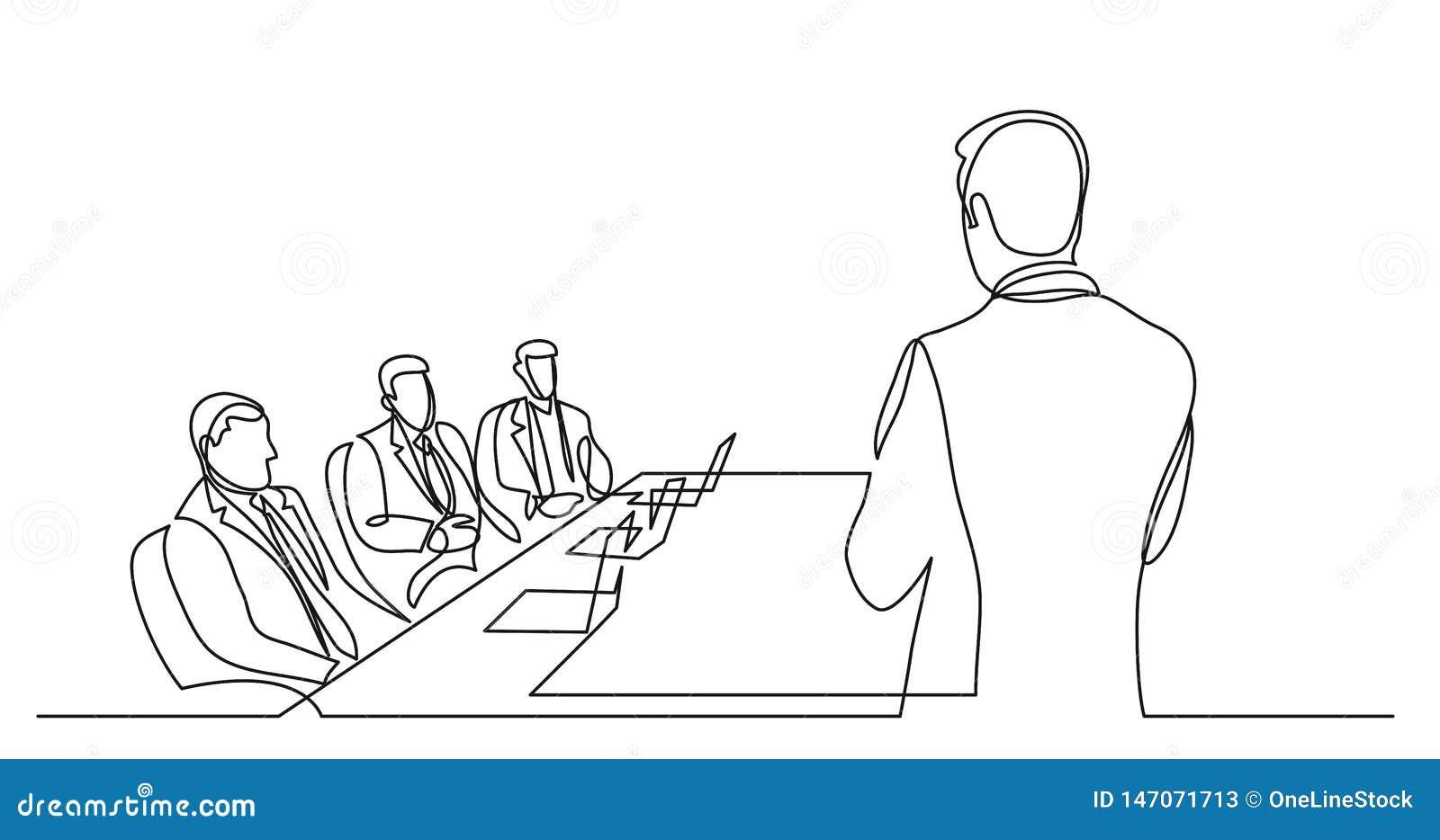 Teamleiter, der vor Vorstandsmitgliedern - Federzeichnung der einzelnen Zeile spricht