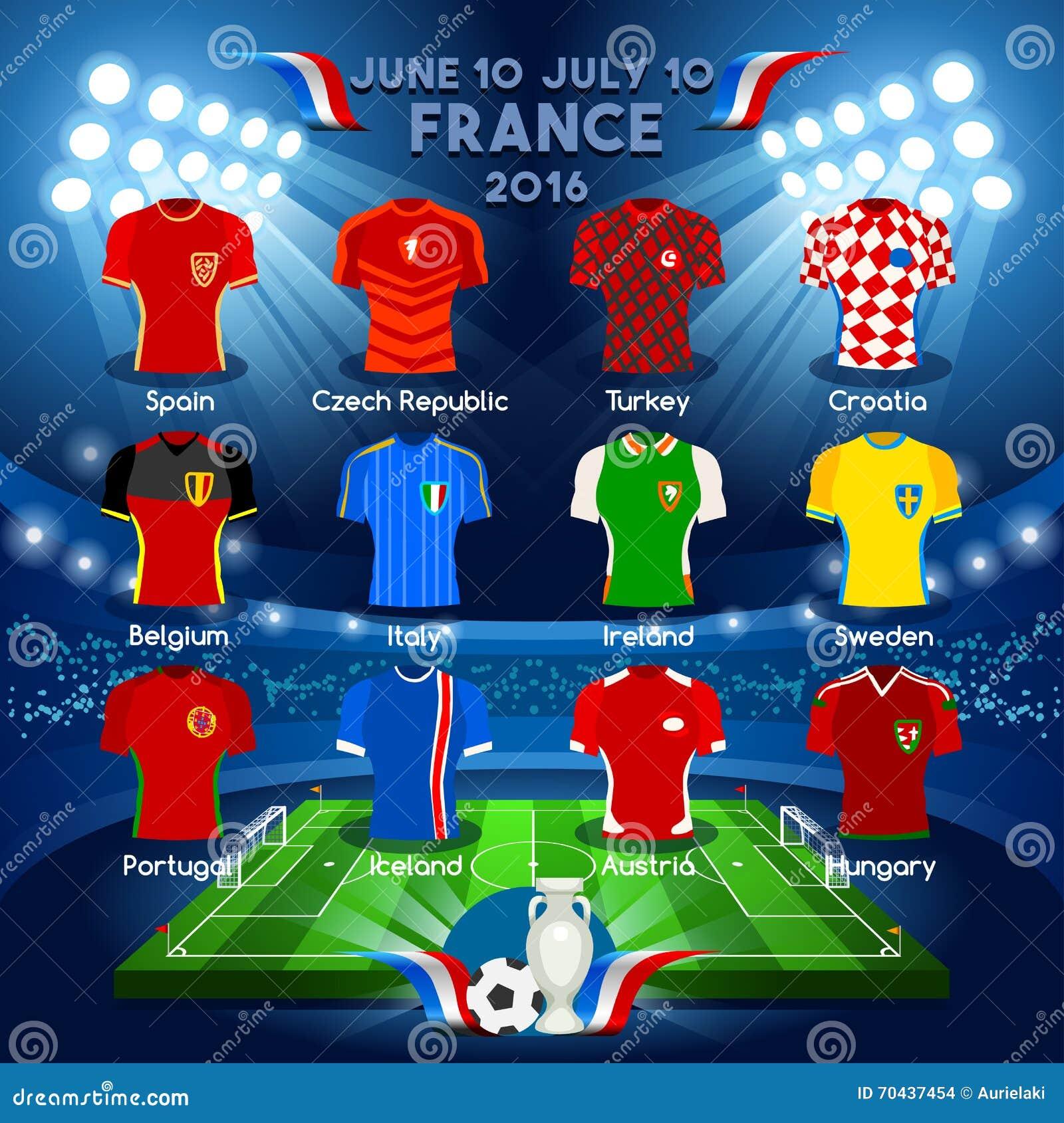 teams euro 2016 championship stock vector