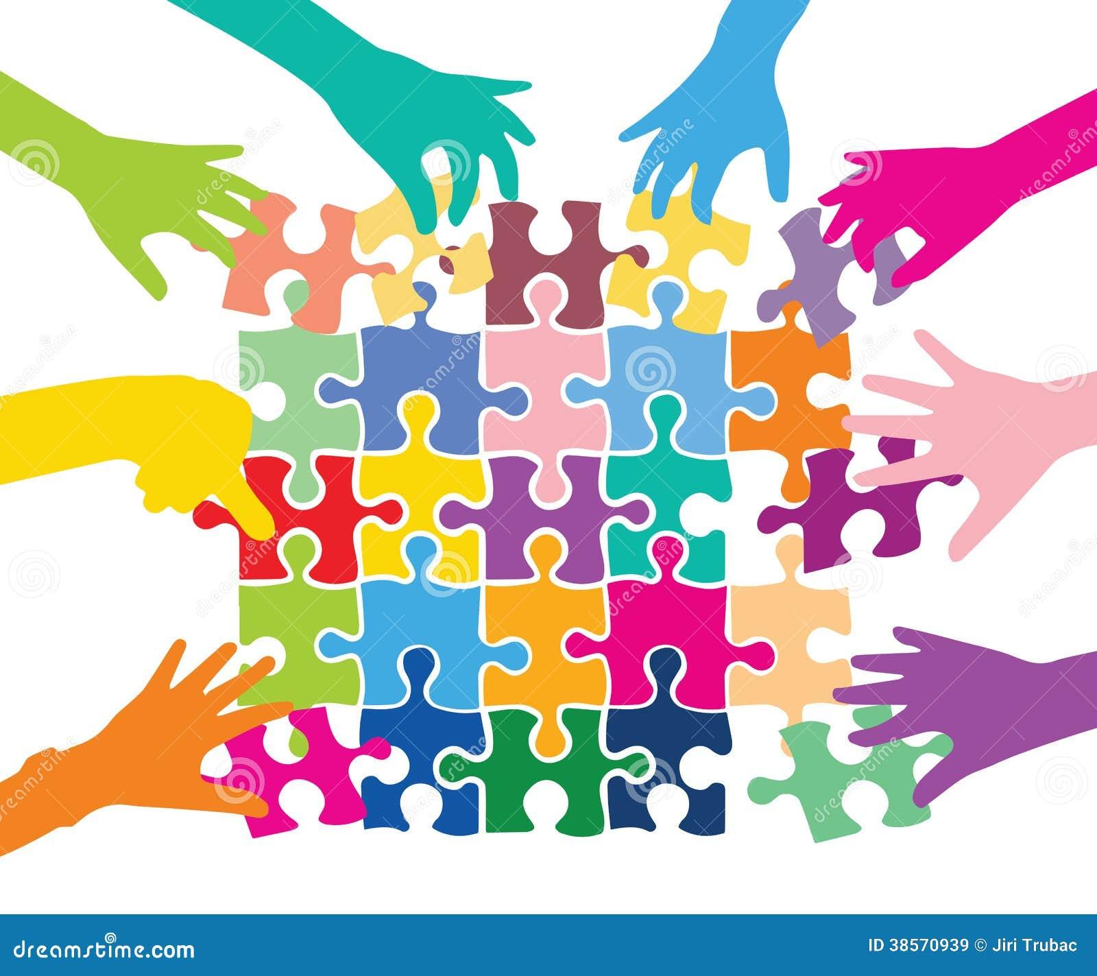 Teamspiel mit Puzzlespielstücken