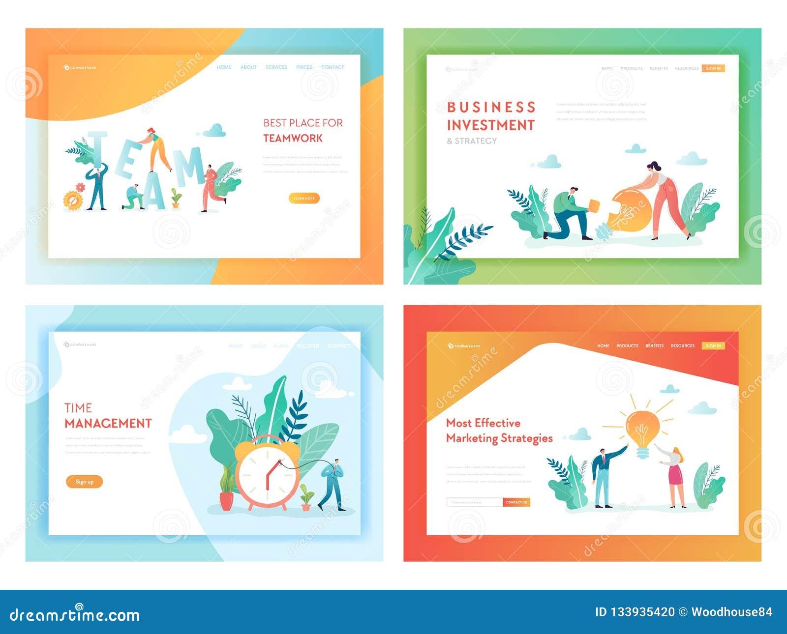 Teamwork-Anlagengeschäft-Landungs-Seiten-Schablone Marketingstrategie-Konzept mit den Charakteren, die in der Büro-Website arbeit