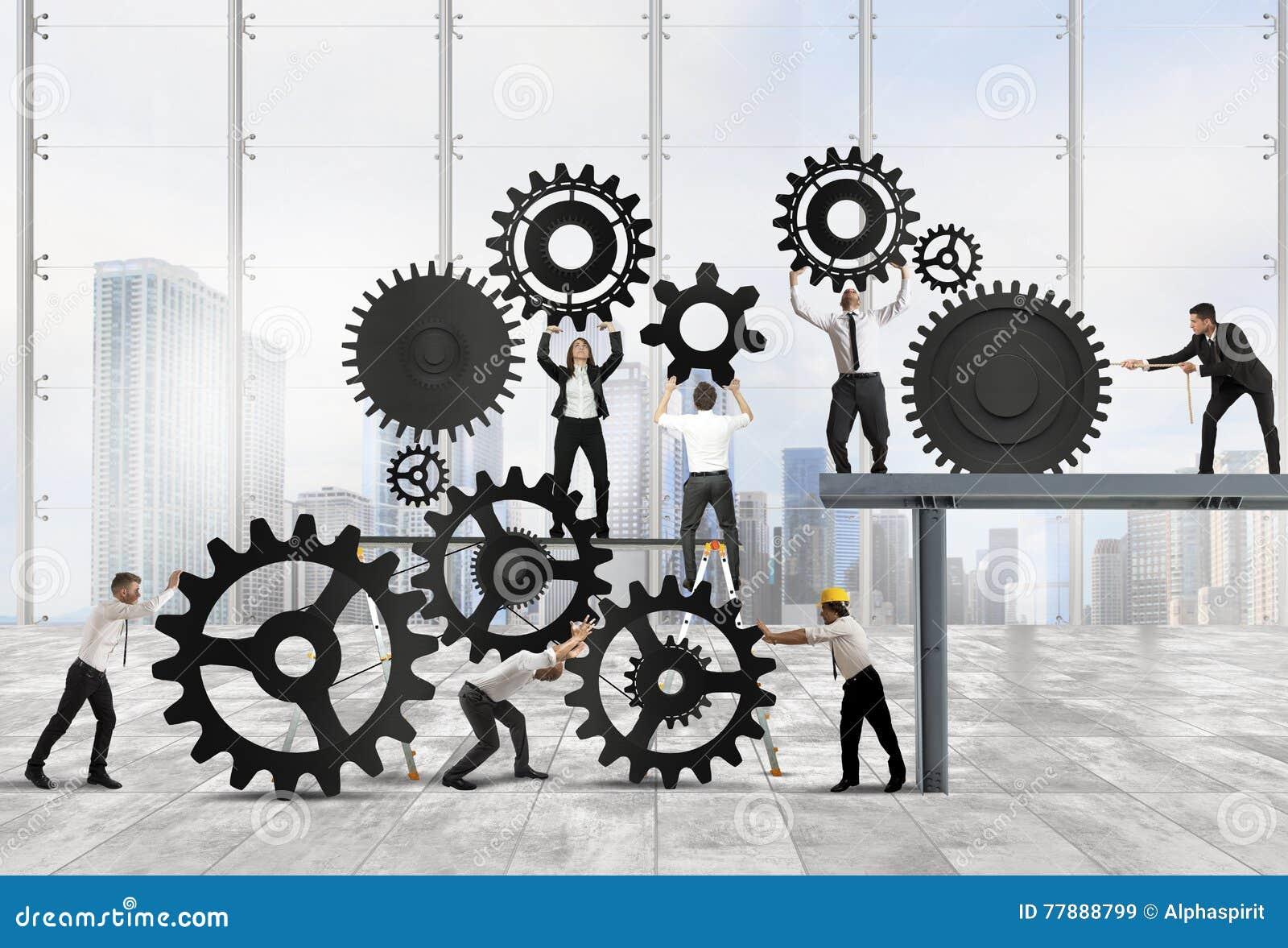 Teamwork av businesspeople