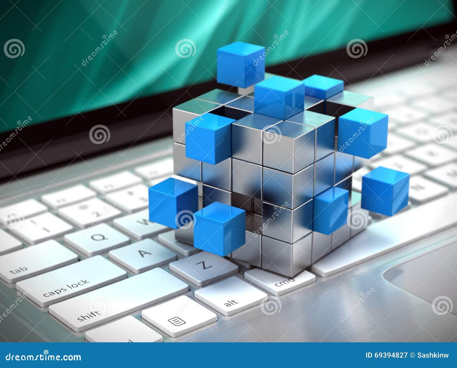 Teamwork Business Concept Cube Assembling From Blocks On Laptop