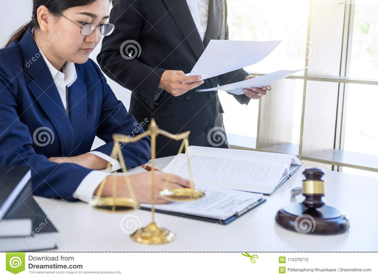 Teamwork Of Business Lawyer Colleagues, Consultation And