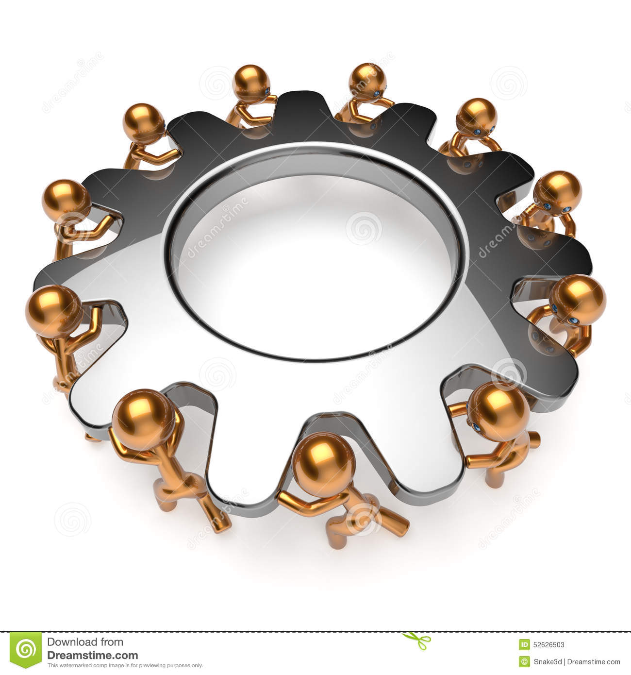 Teamwork Business Process Man Characters Turning Gear ...