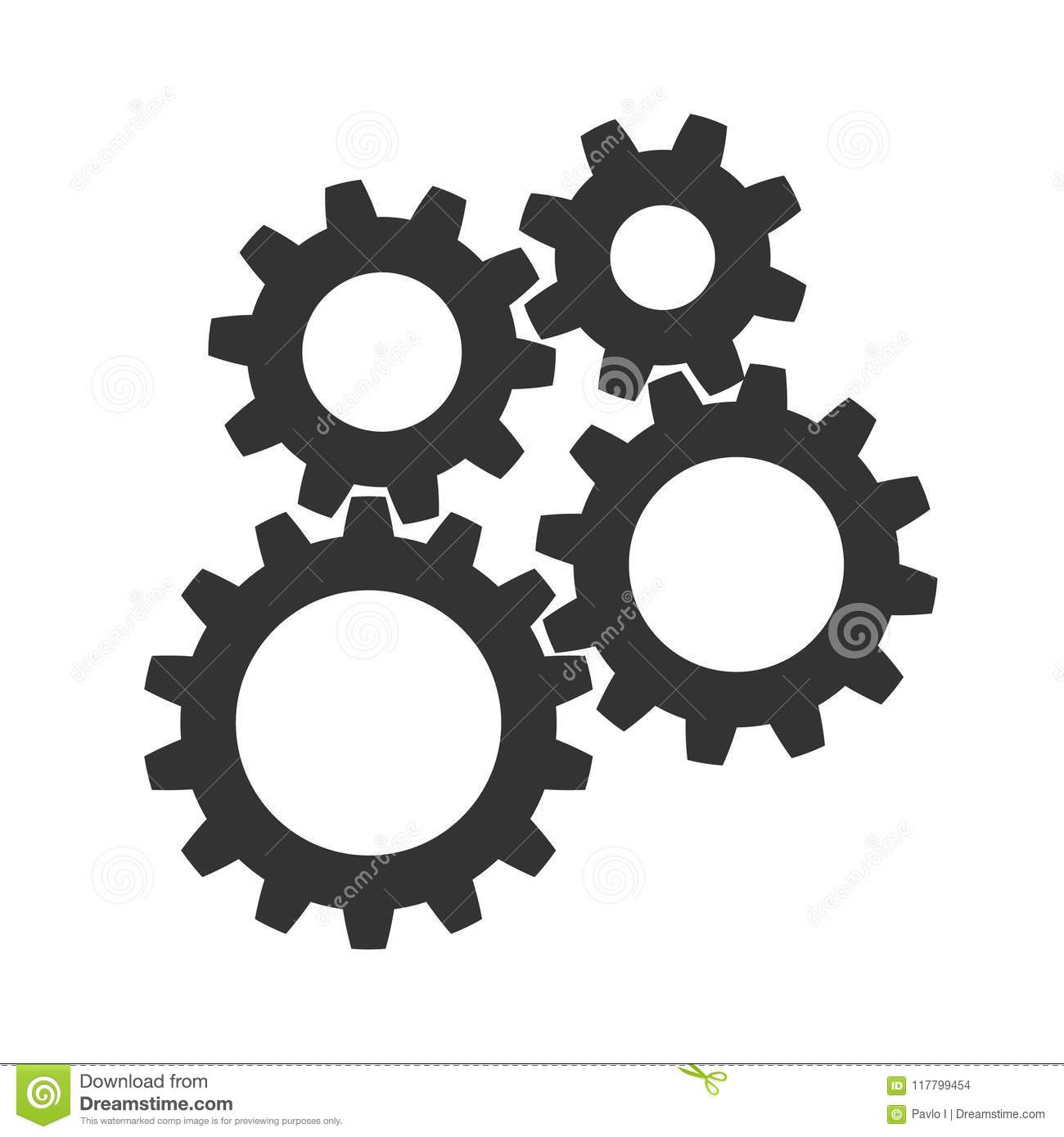 Teamwork, concept business success, colored set gear icon illustration - vector