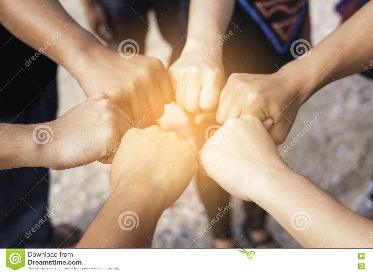 Teamwork concept,Business team standing hands together in the of
