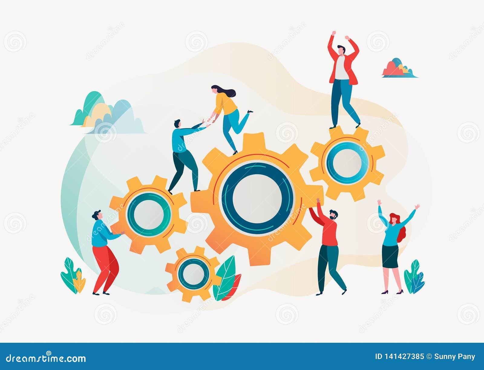 Teamwork concept. Team building. Team metaphor. Together concept. Vector illustration. Flat cartoon character graphic design.