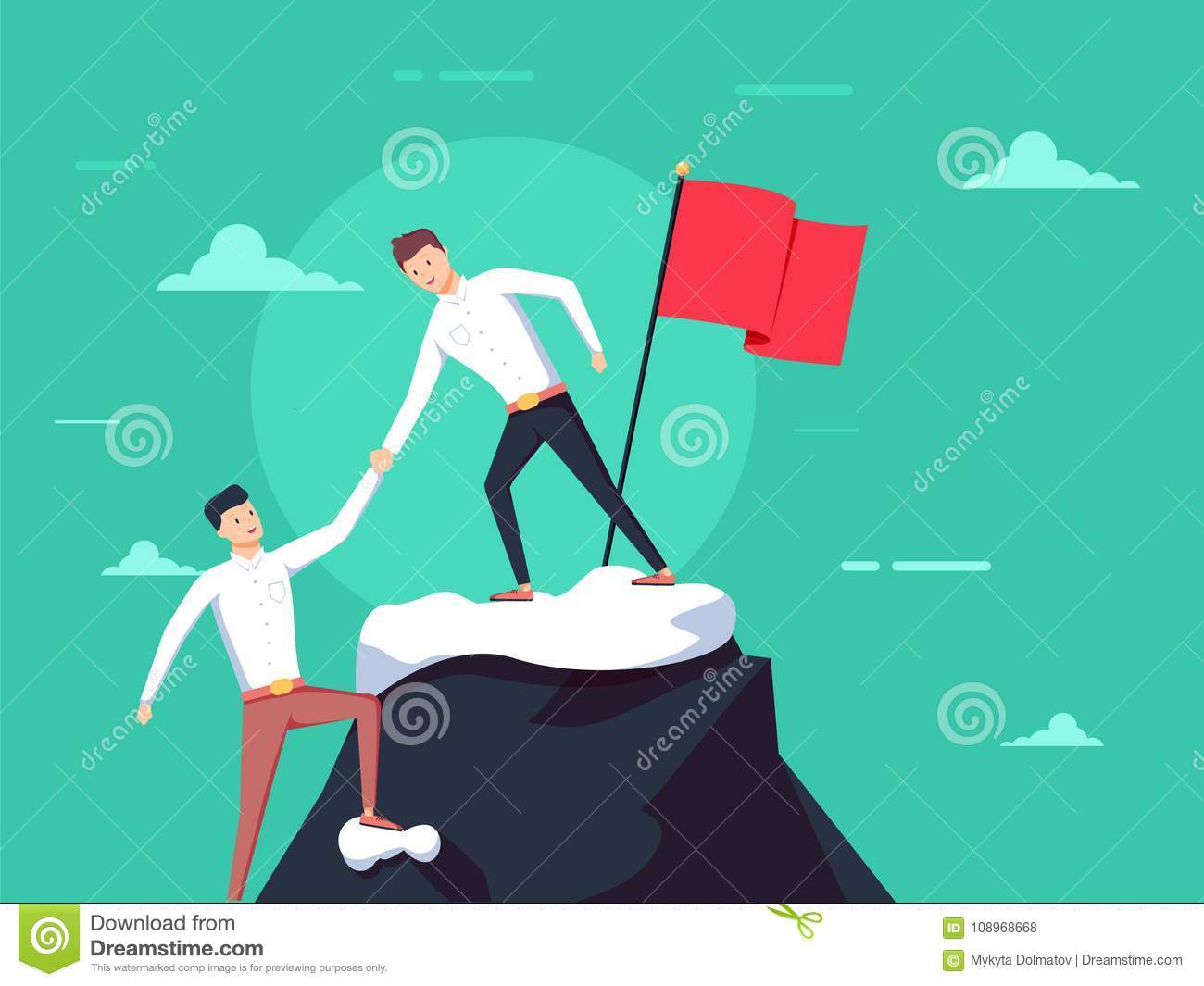 Teamwork concept. Two businessmen together rise on mountain with flag. Give help hand. Collaboration concept.