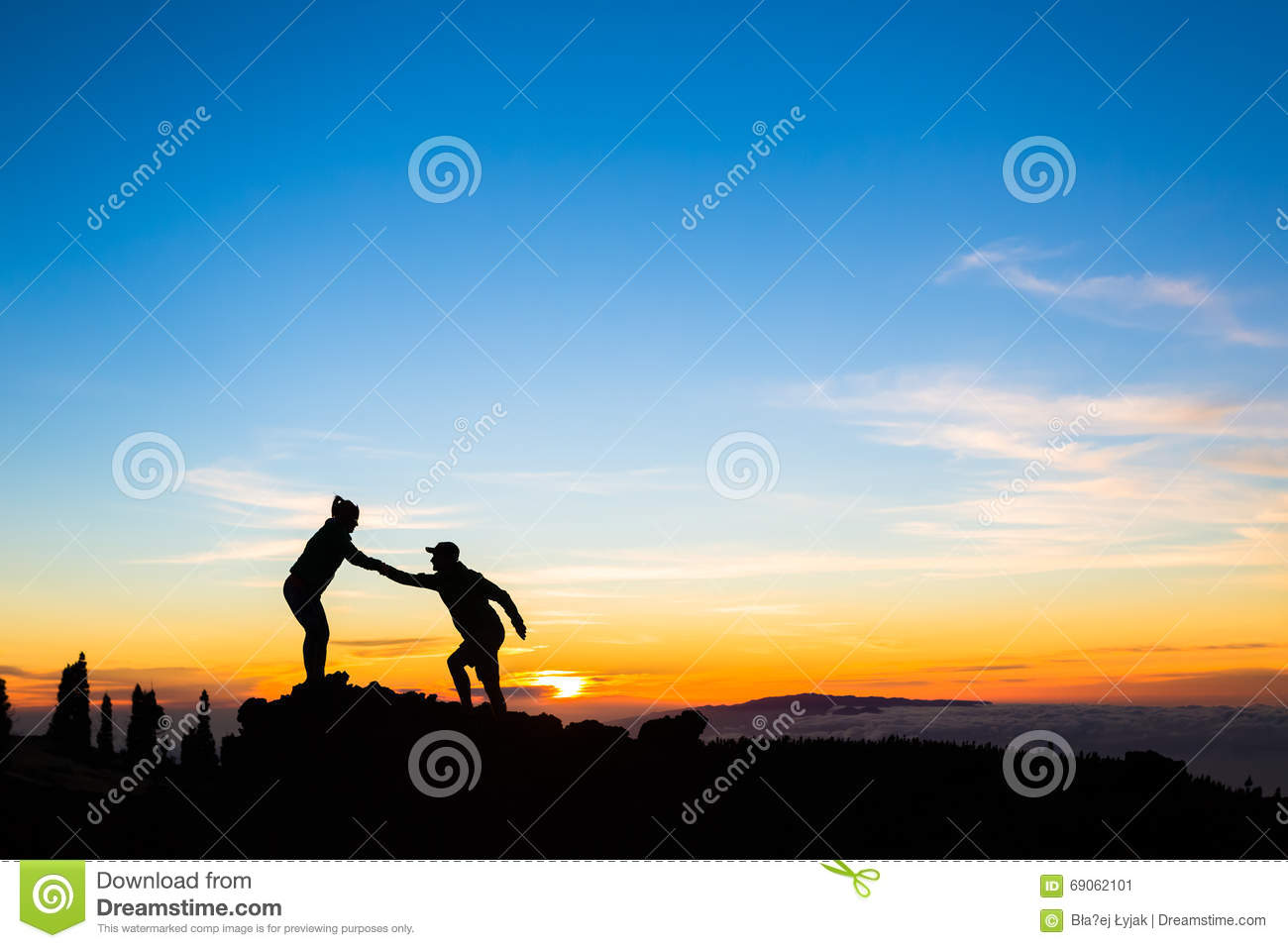 Download Teamwork Couple Climbing Helping Hand Stock Image - Image of adventure, hand: 69062101