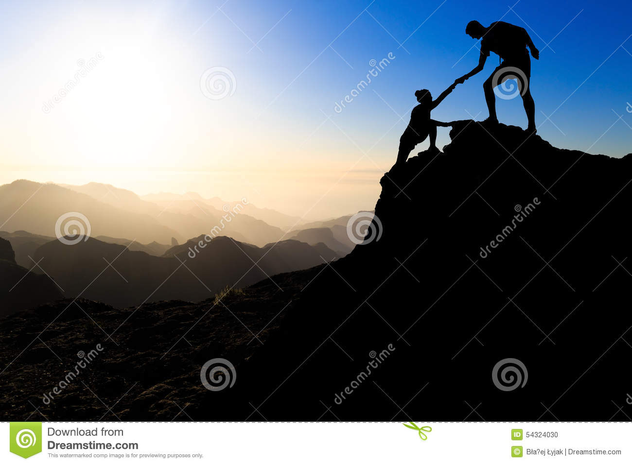 Download Teamwork Couple Hiking Helping Hand Stock Photo - Image of climbing, backlit: 54324030