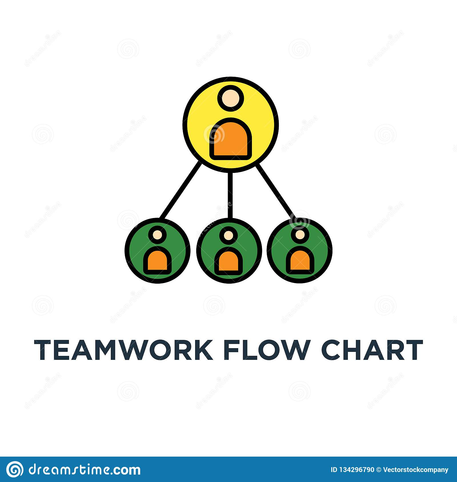 teamwork flow chart icon. business hierarchy or business team pyramid structure concept symbol design, company organization