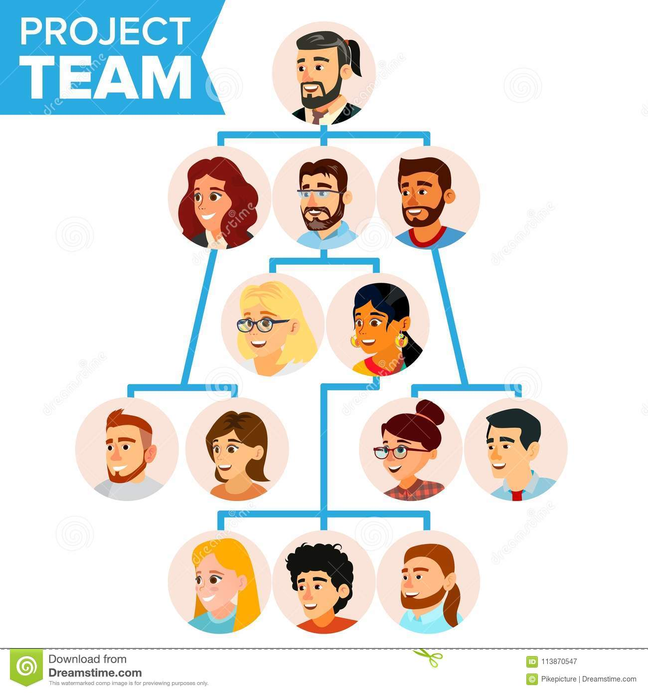 Teamwork Flow Chart Vector  Company Hierarchical Diagram
