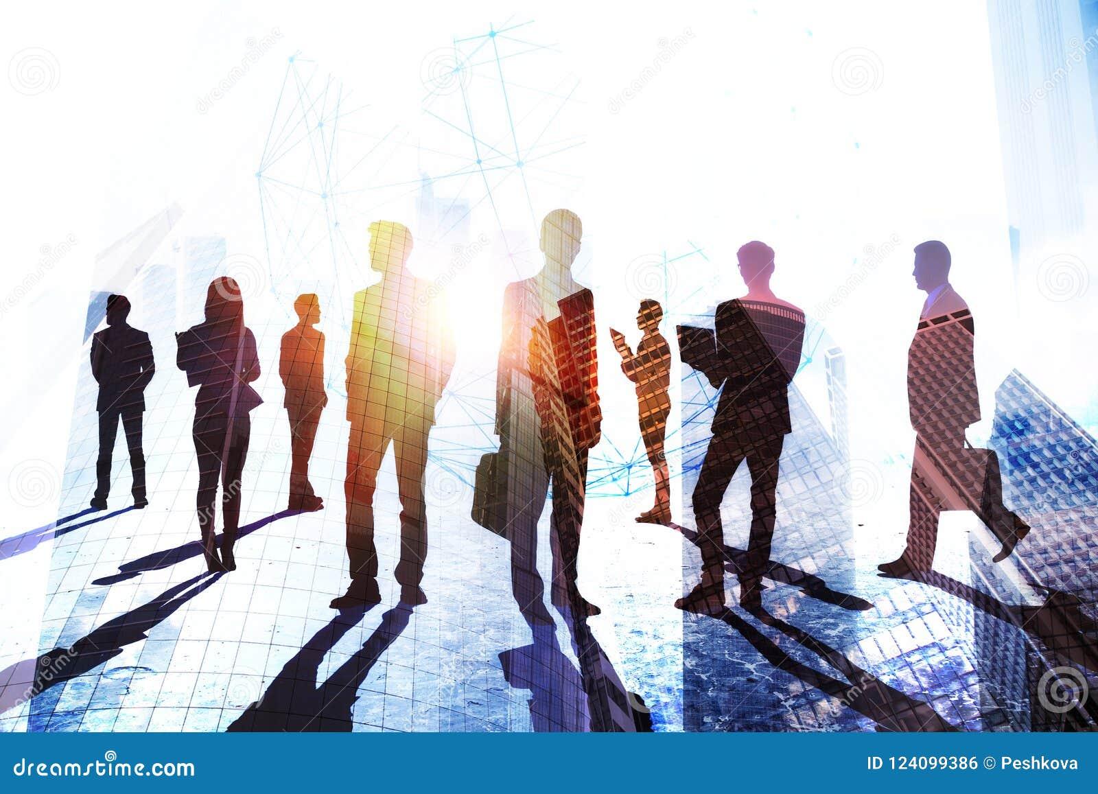 Teamwork-, framgång- och folkmassabegrepp