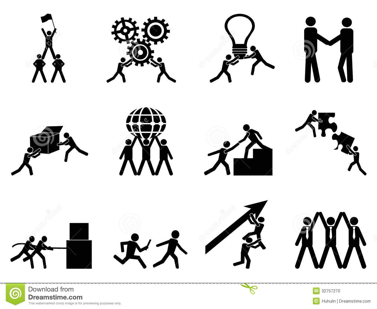 teamwork icons set stock photo