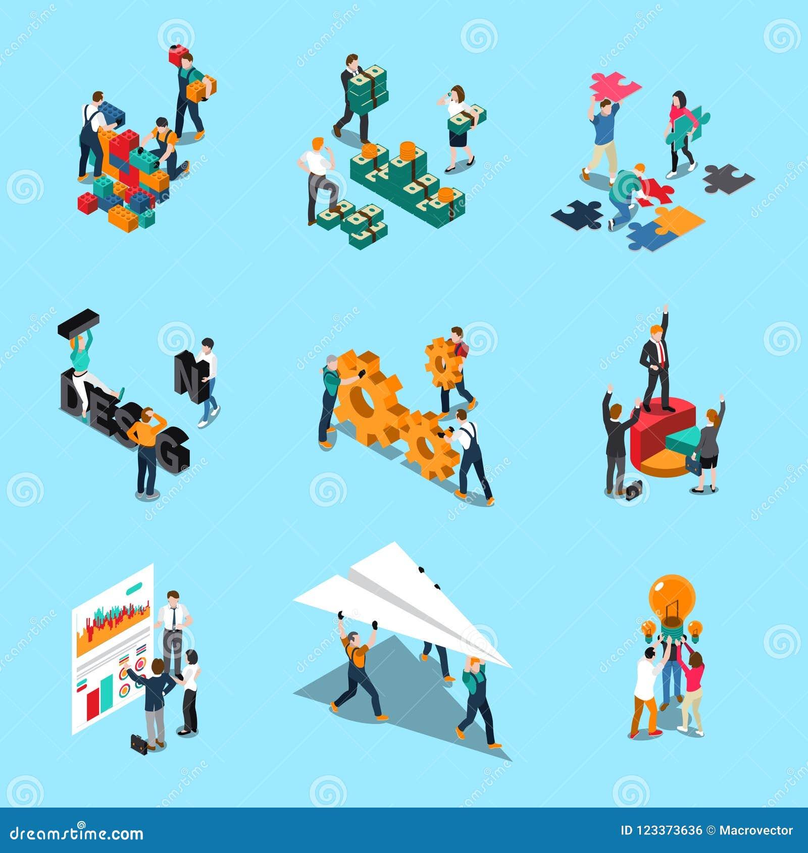 Teamwork Isometric Icons Set