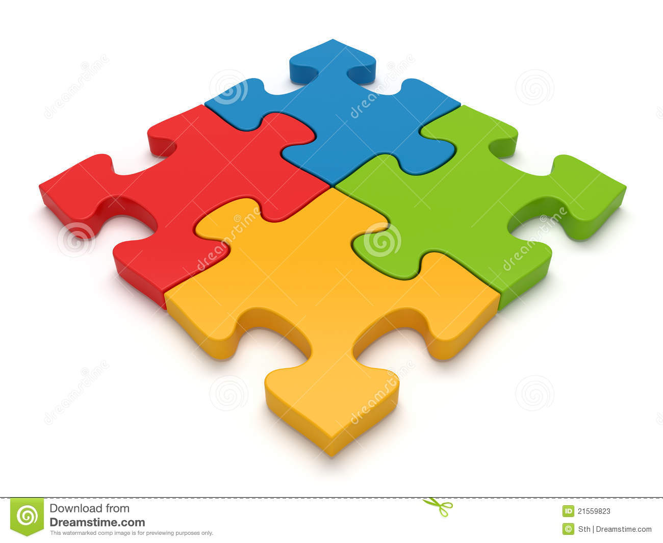 Four jigsaw puzzle pieces attached. Concept for teamwork.