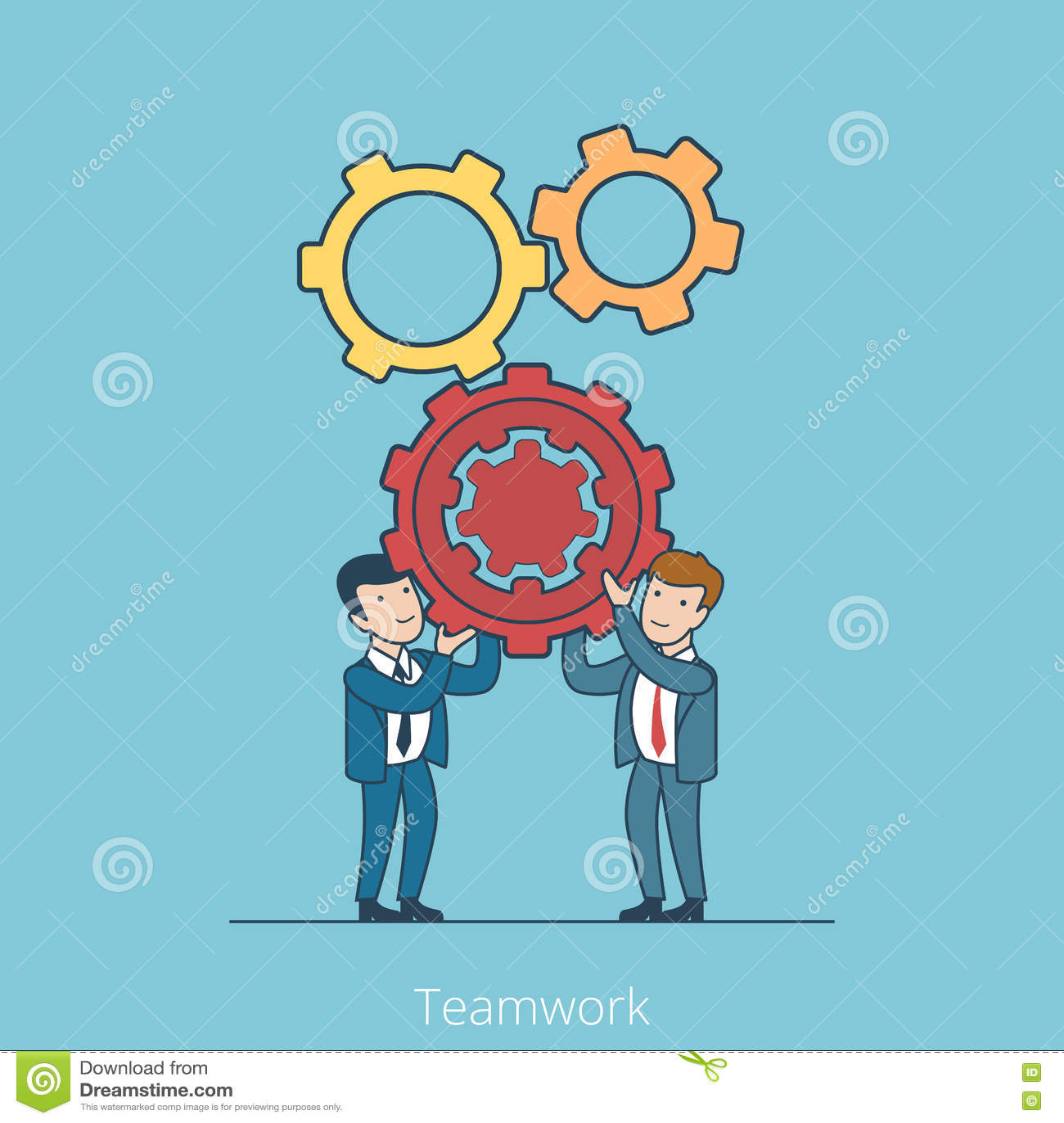 Teamwork Linear Flat Business people holding gearw
