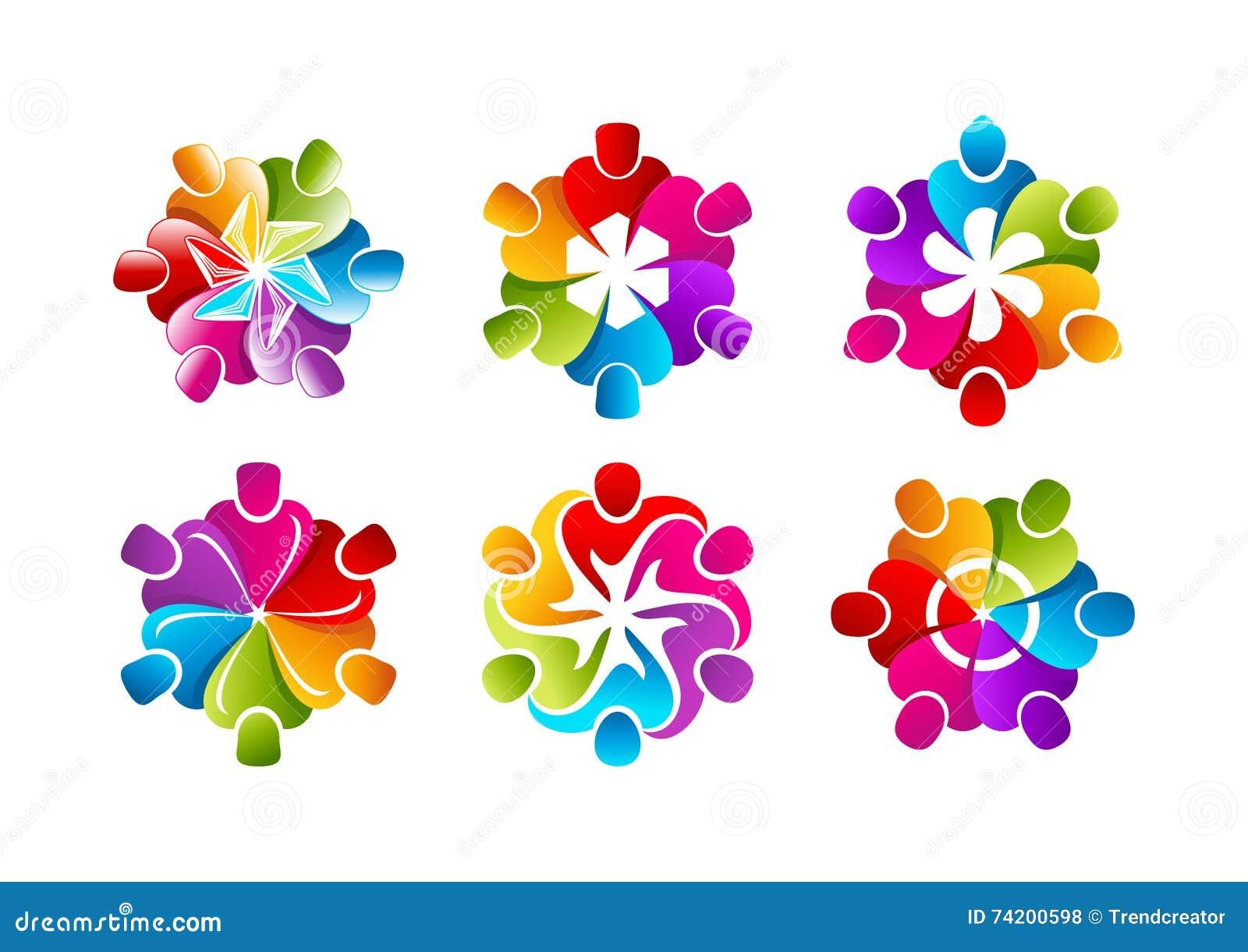 Teamwork logo, businessman symbol, creative people icon, professional community concept design