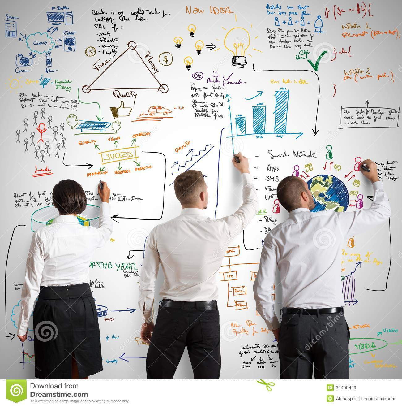 Teamwork With New Business Project Stock Photo