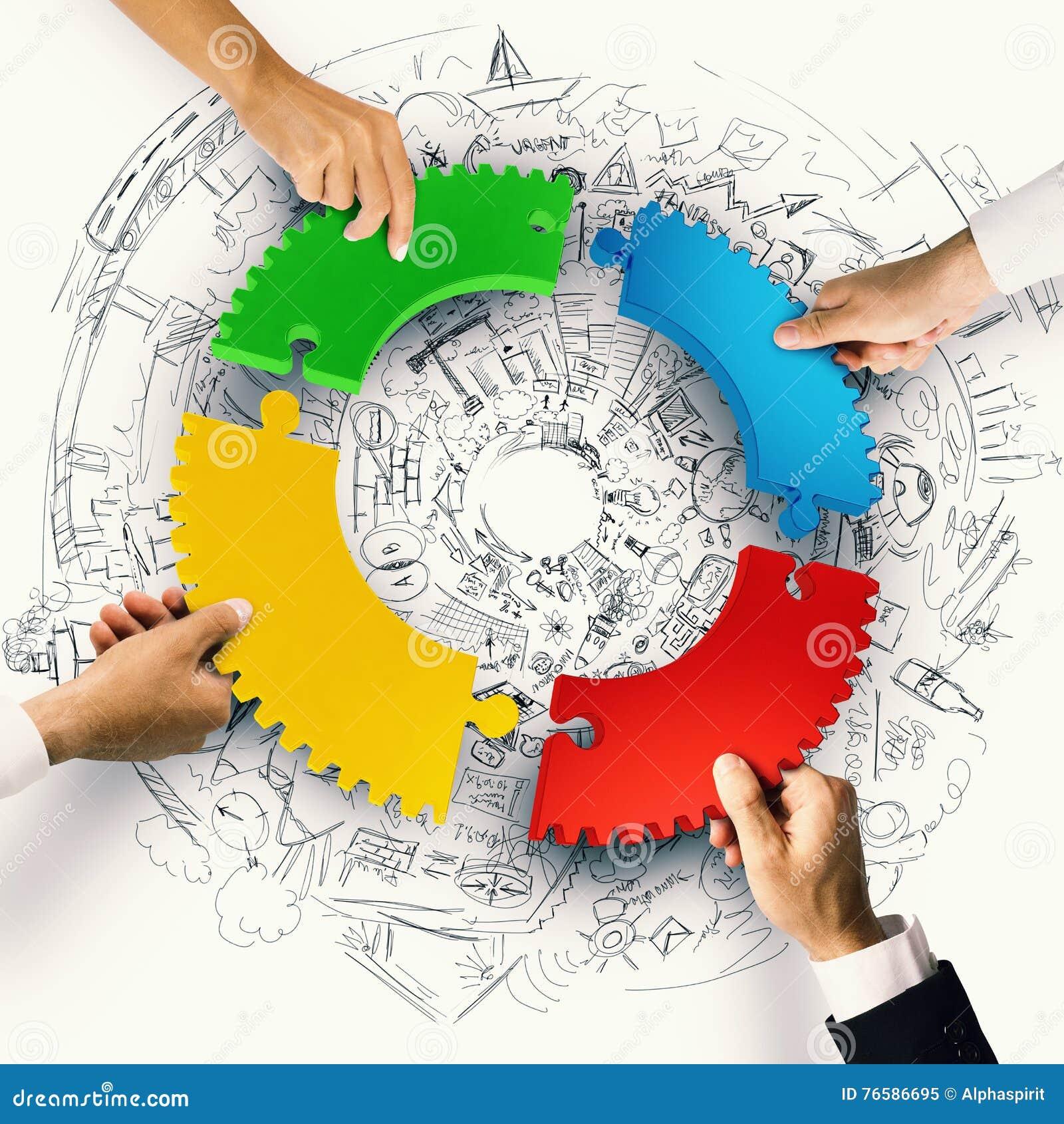 Teamwork- och integrationsbegrepp med pusselstycken av tolkningen för kugghjul 3D