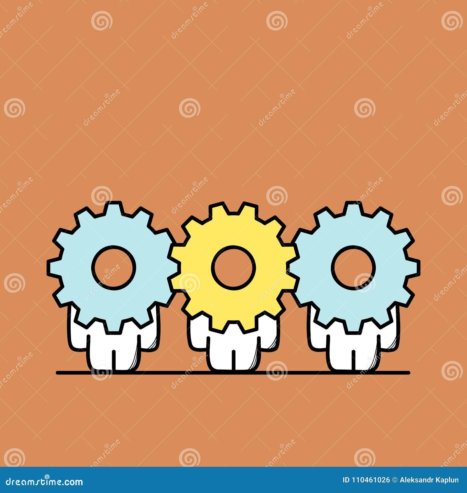 Teamwork och kugghjulhjul