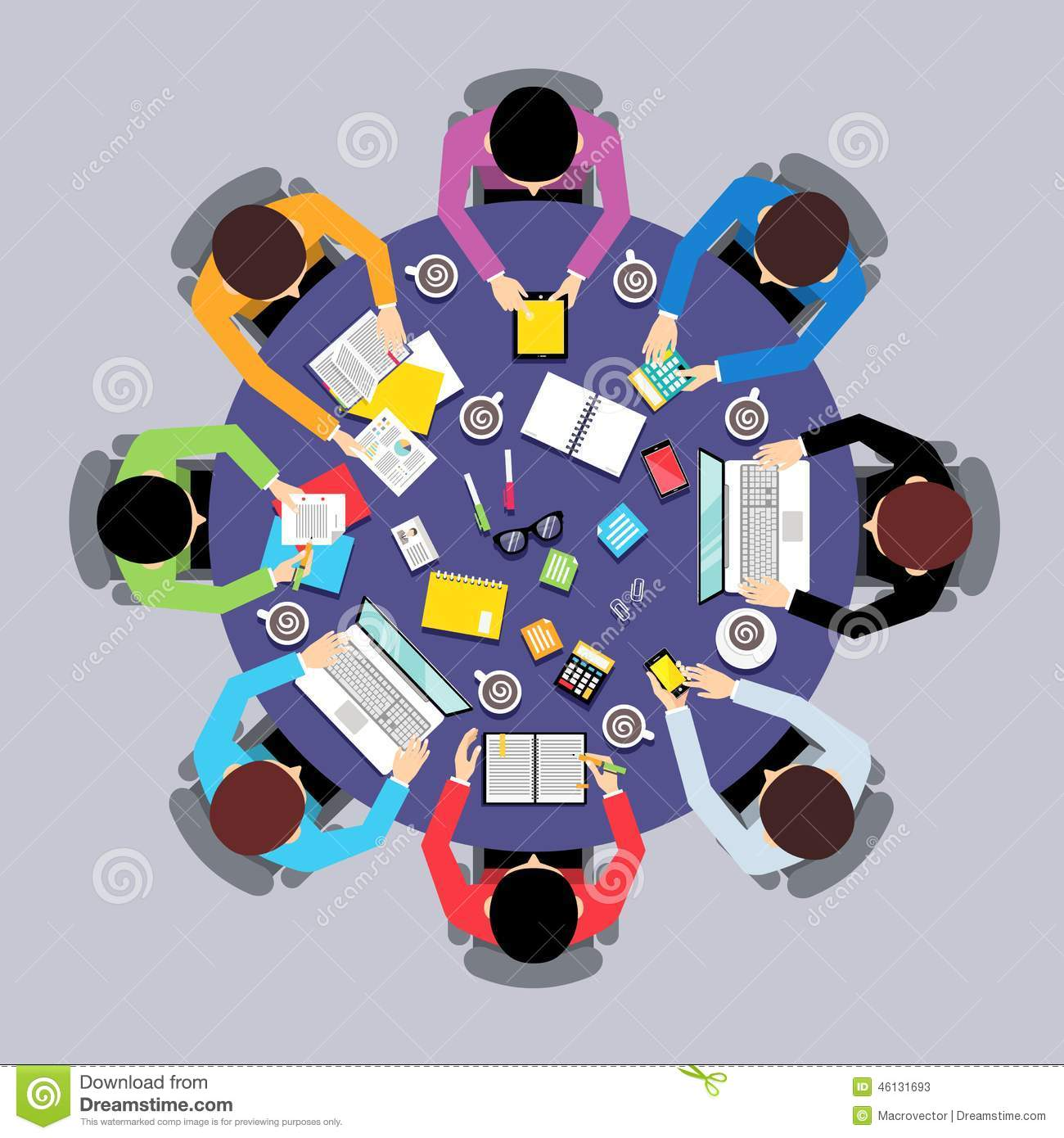 Teamwork people top view stock vector illustration of for Table ronde 6 personnes