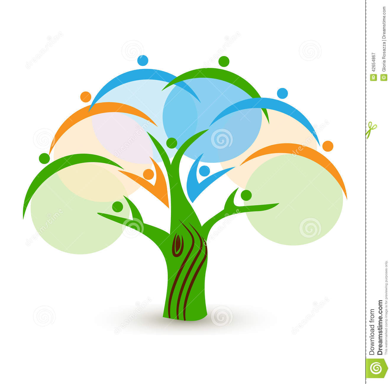 Teamwork People In A Tree Logo Stock Vector Image 42654867