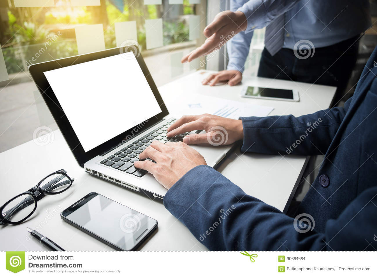 Teamwork Process, Businessmen Hands Pointing At Laptop And Docum Stock Photo