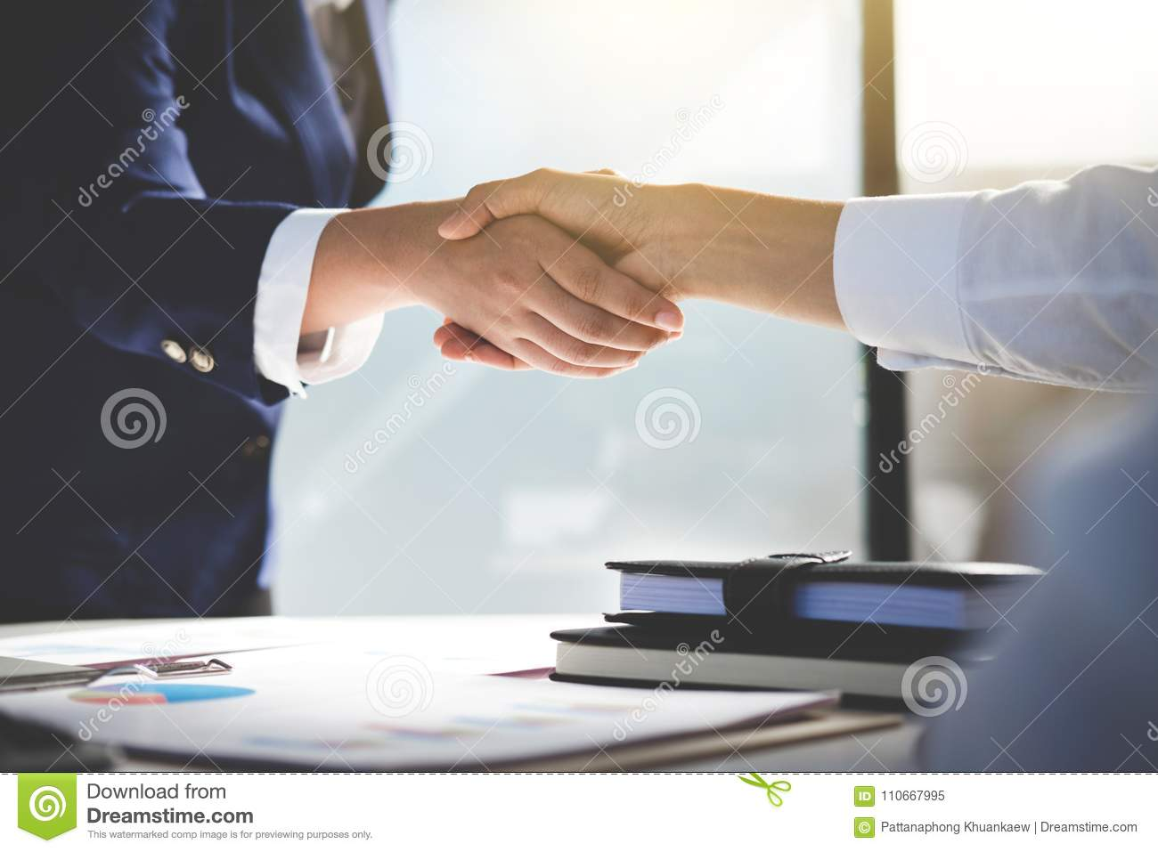 Teamwork process, Image of business team greeting handshake. Successful business people handshaking after good deal, success, dea