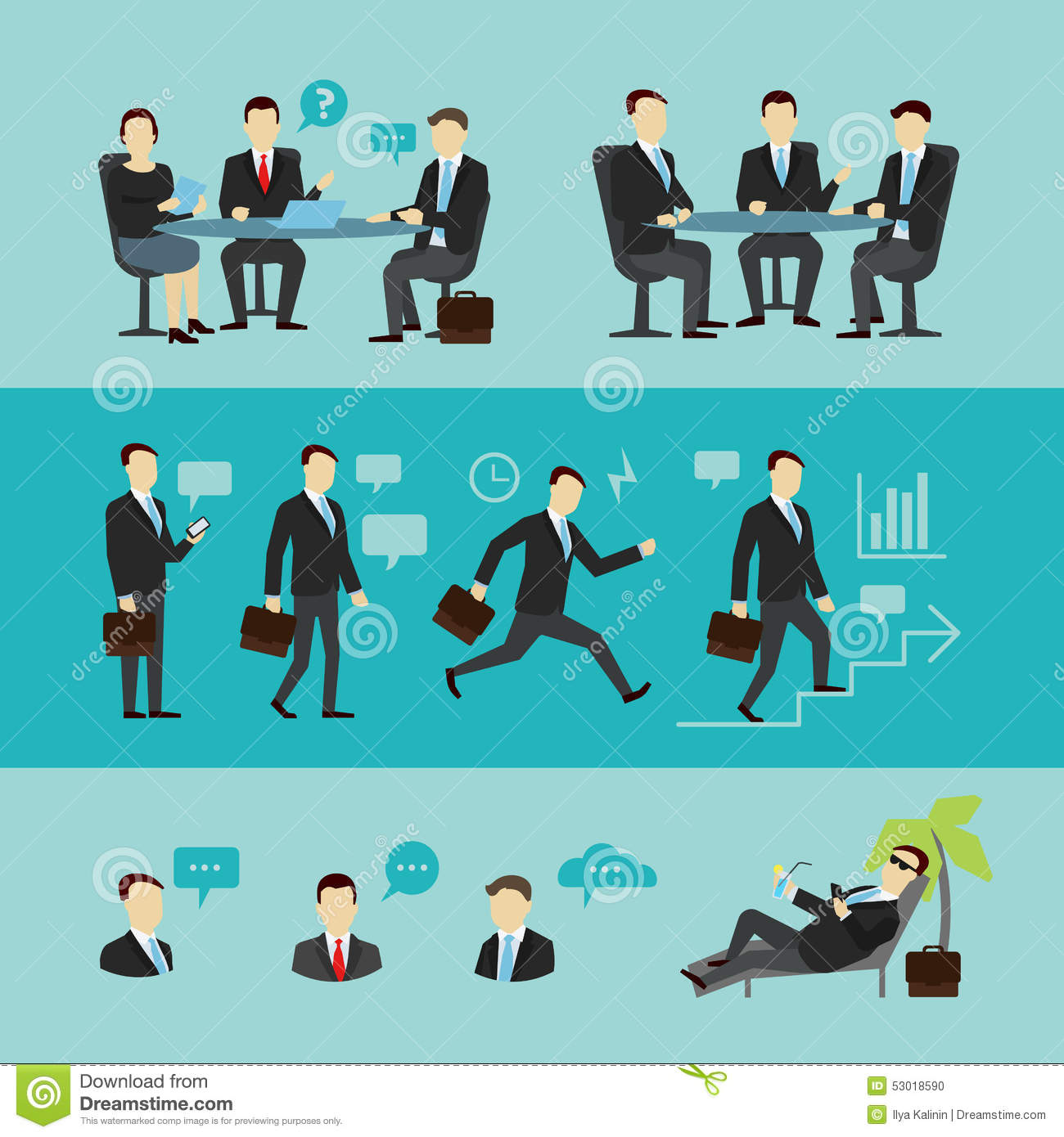 teamwork set interview vector flat stock vector image 53018590 teamwork set interview vector flat