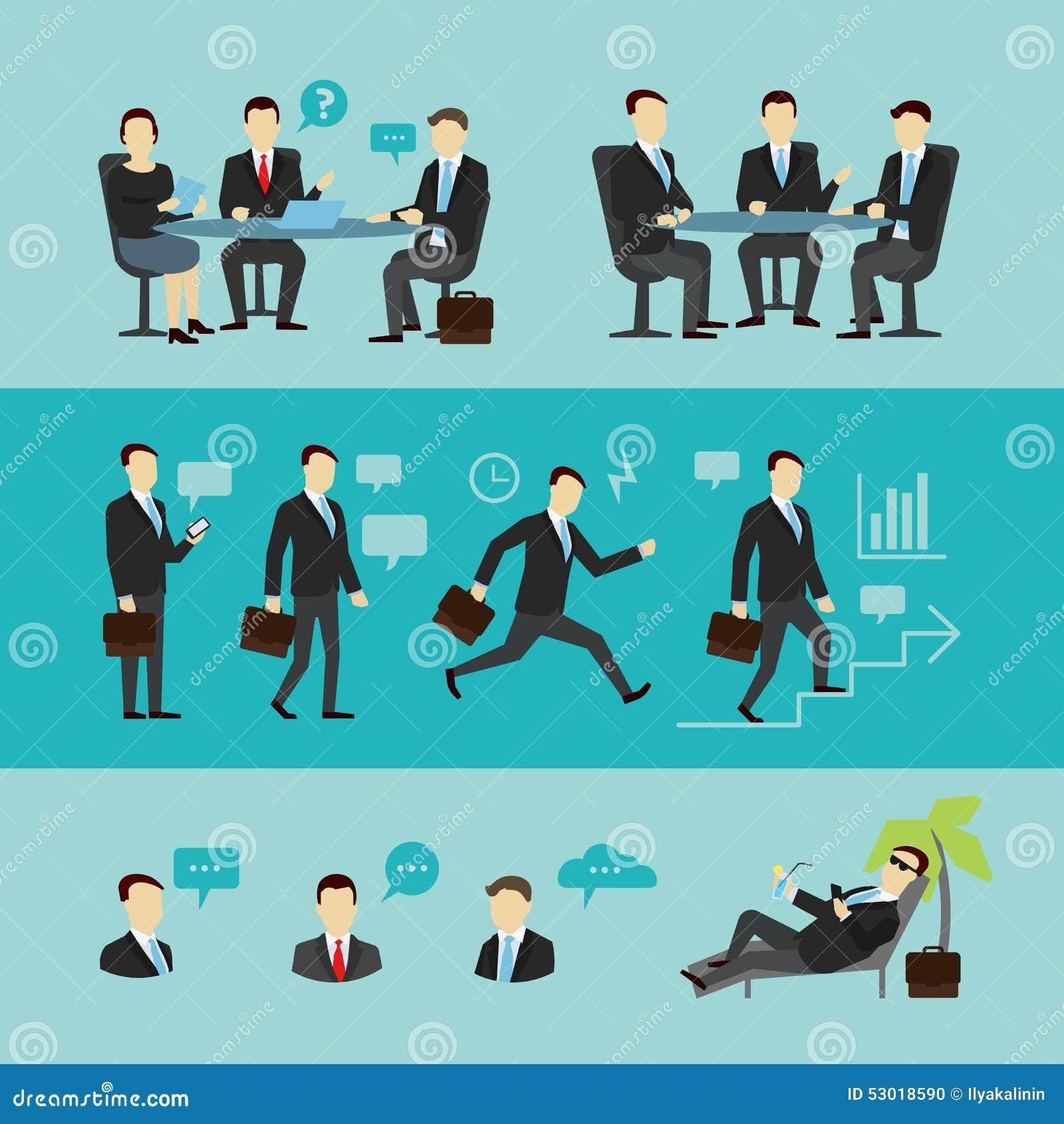 teamwork set interview vector flat stock vector image  teamwork set interview vector flat