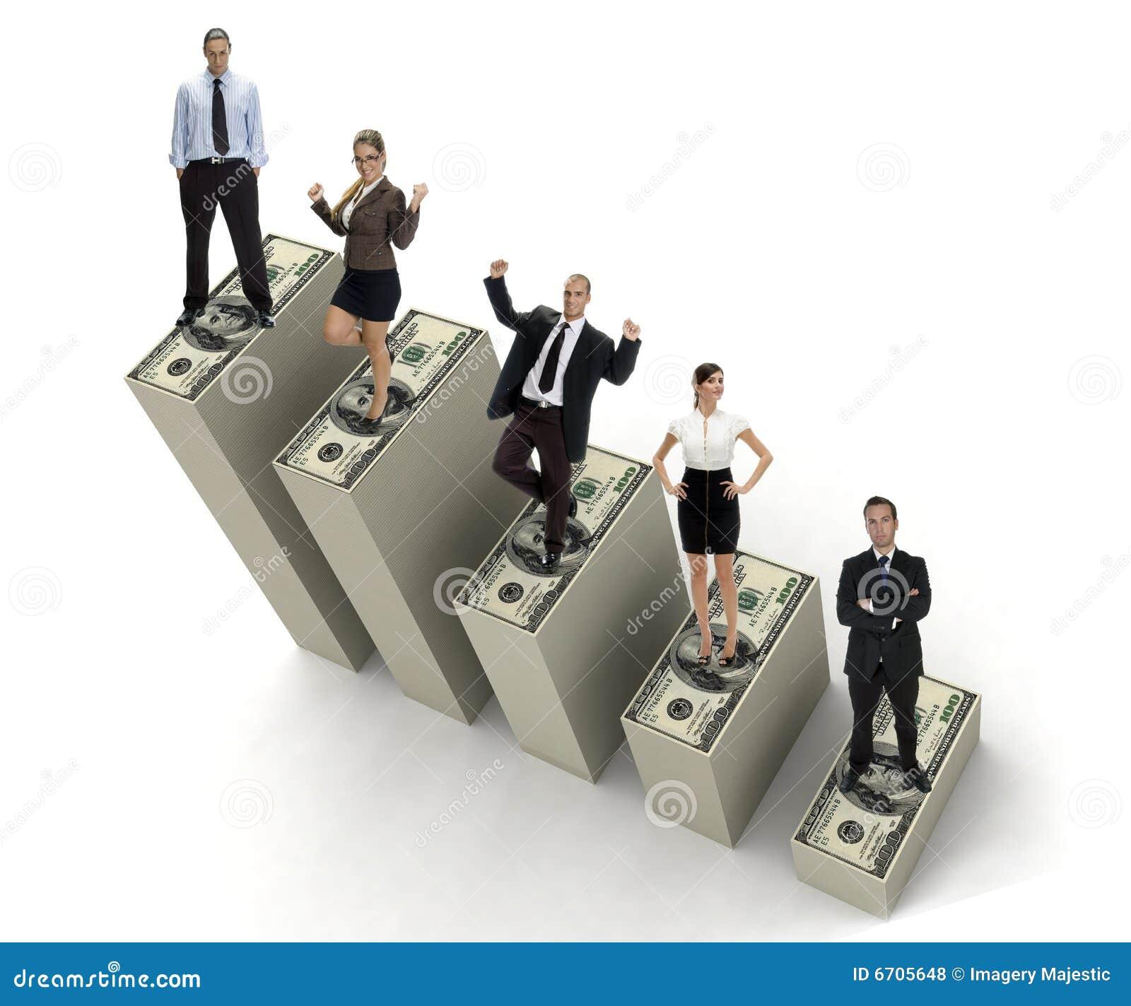 teamwork of successful business people on three