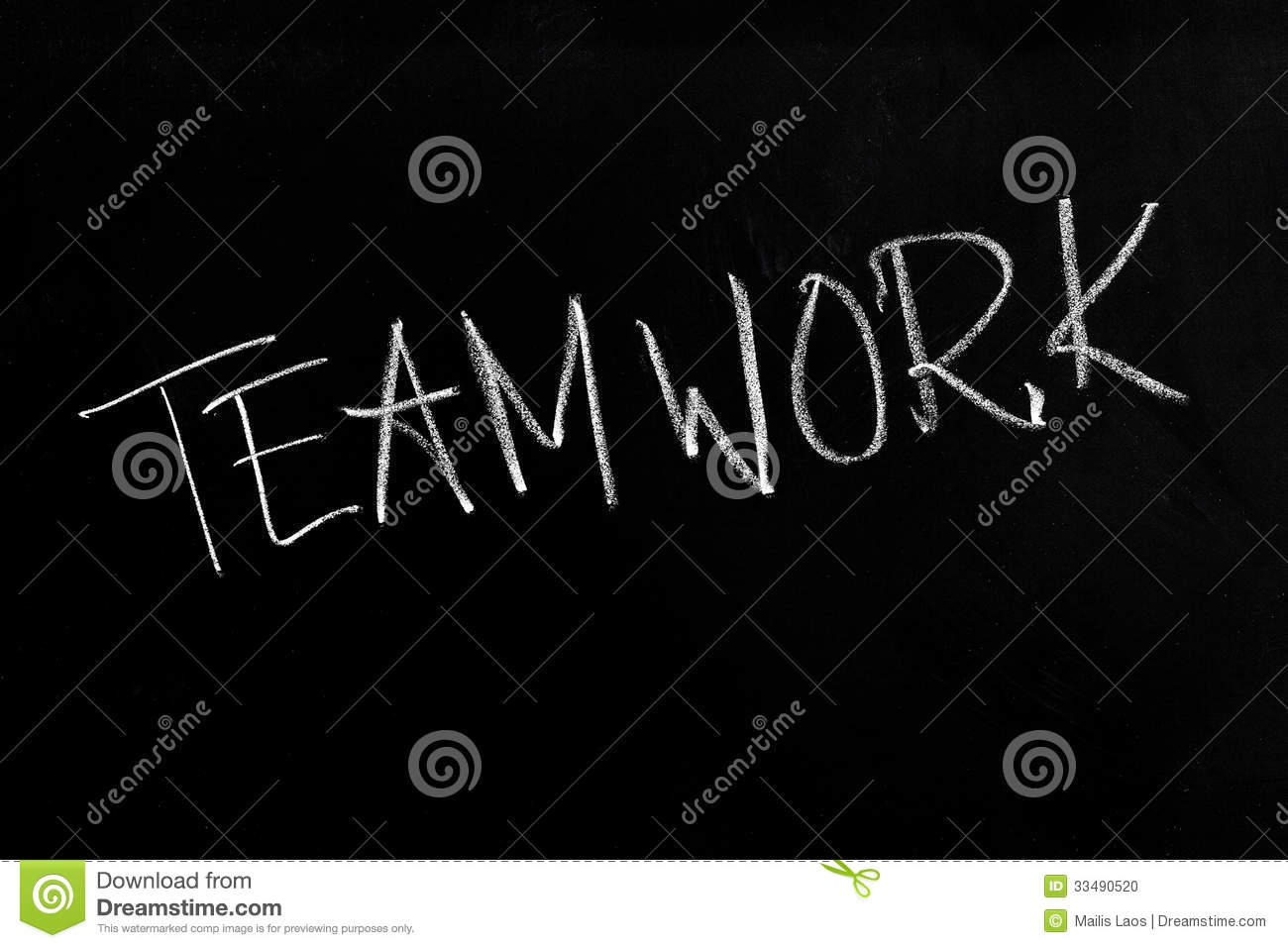 Download Teamwork Text On Blackboard Stock Photo - Image of written, conceptual: 33490520